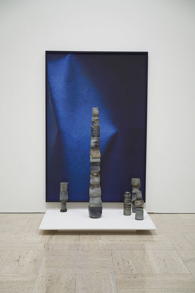Unfixed, Fold No. 3,  archival pigment print ,  in artist frame with unfixed cyanotype emulsion, 60x41in  Unfixed, Cairn No. 1,  porcelain dipped in unfixed cyanotype emulsion, dimensions variable