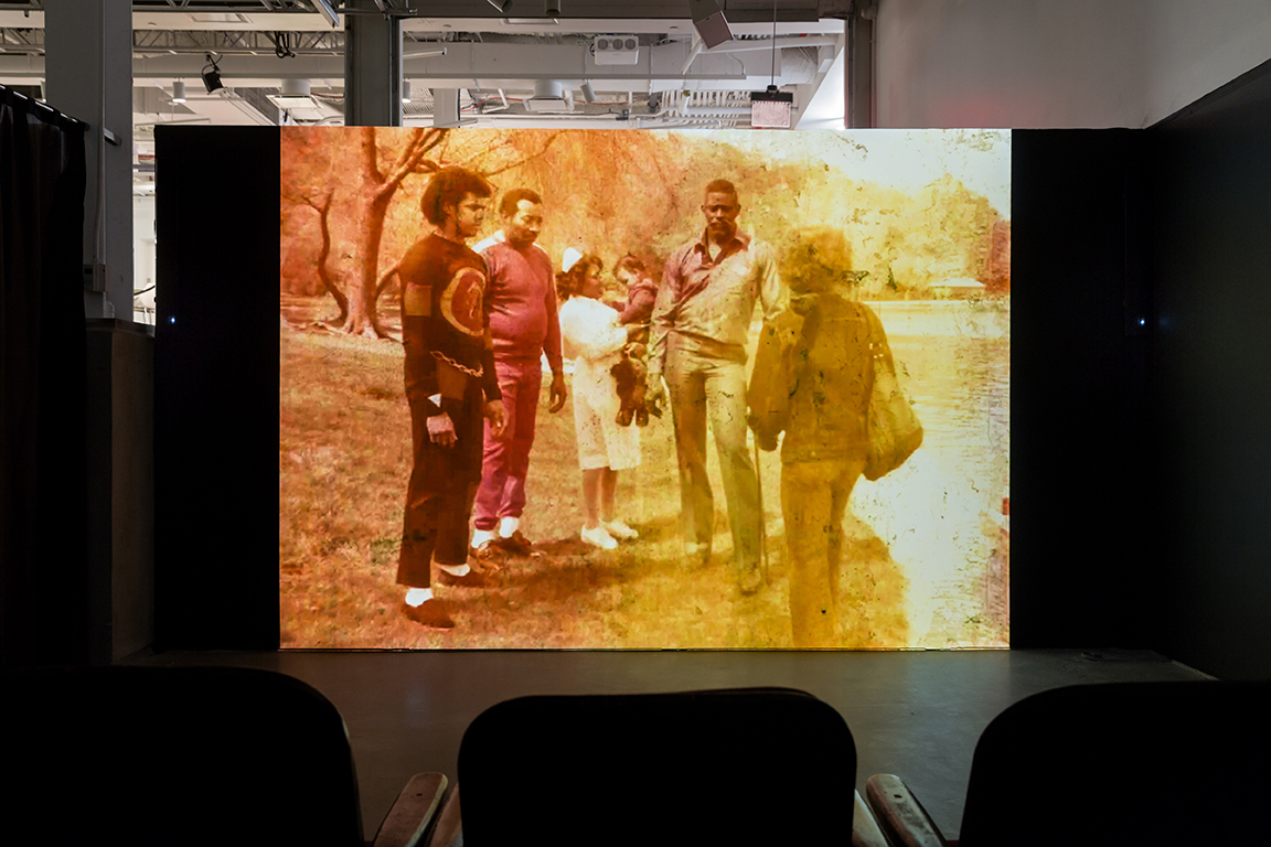 © Crystal Z. Campbell,  Go-Rilla Means War,  installation view.Courtesy of BRIC and Etienne Frossard.