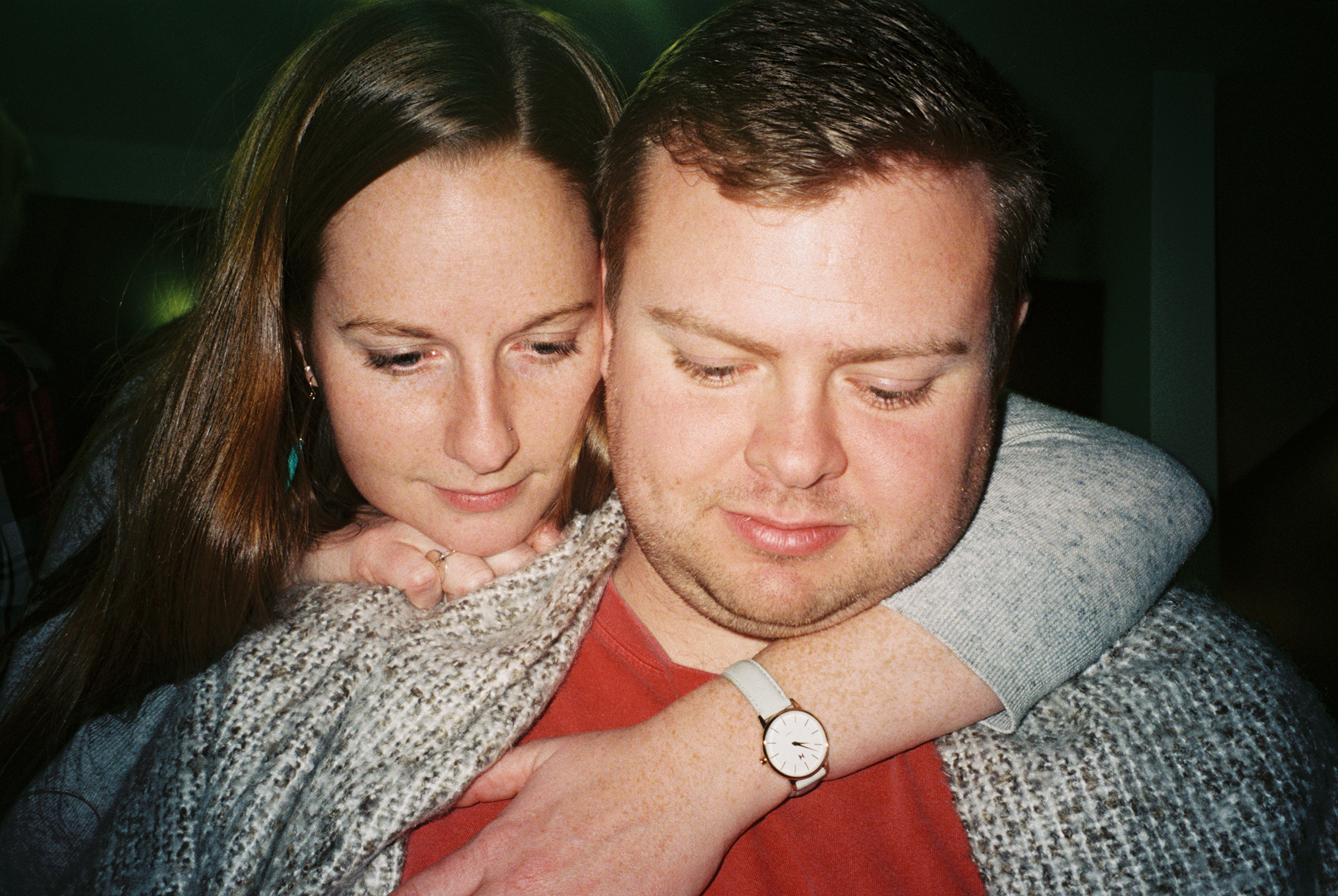 Kelsey snuggles up with her boyfriend, Aaron, during a Super Bowl party at their apartment complex in Indianapolis. The couple has dated for nearly three years. Kelsey works in college admissions and Aaron in commercial real estate.