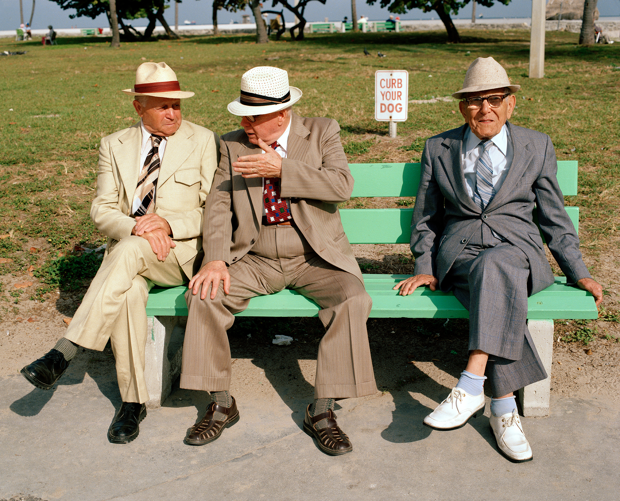 Three men on a park bench, From South Beach series, 1982-85