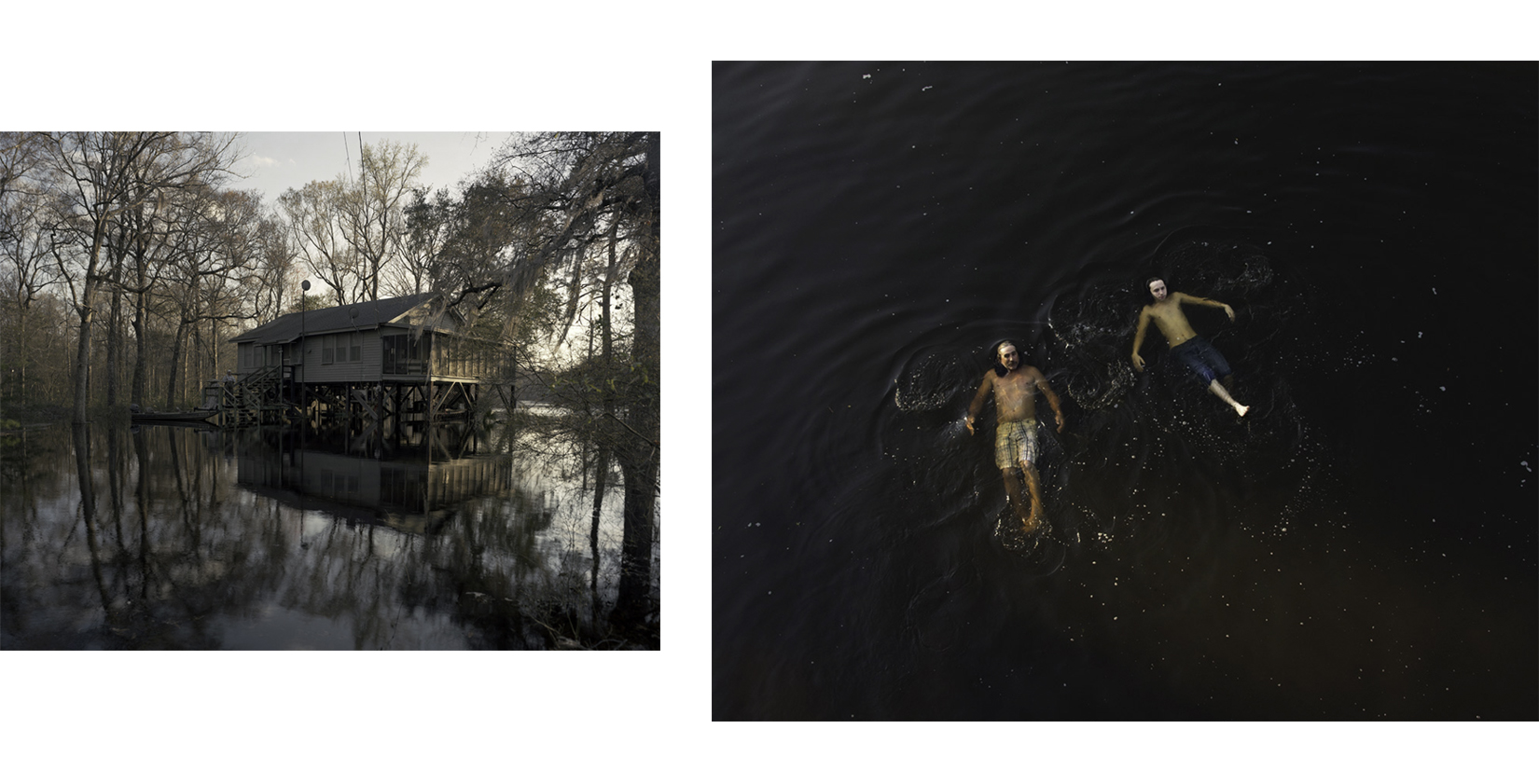Left:  Jody's Home During Flood , 2012 Right:  Father and Son Floating , 2012 From the series  Ogeechee  Stephen Milner