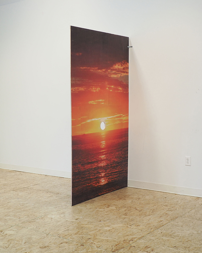 Other Mens Sunsets , 2018 Wood, inkjet prints, glue, acrylic, 4x7 (feet) Stephen Milner