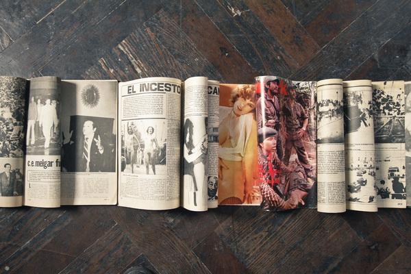 El Incesto (Detail), Floor Installation, 2014. 23 Vintage Crime and Pornographic Magazines from Lima, Peru, 1979