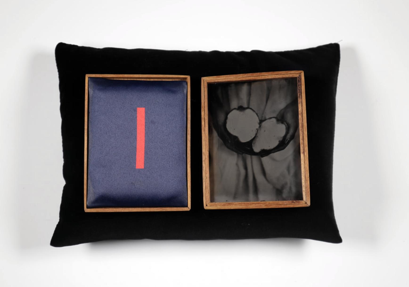 Ogun (Offering series,20017 - 2019.) Tintypes, heated press print, Iroko wood,velvet cradle