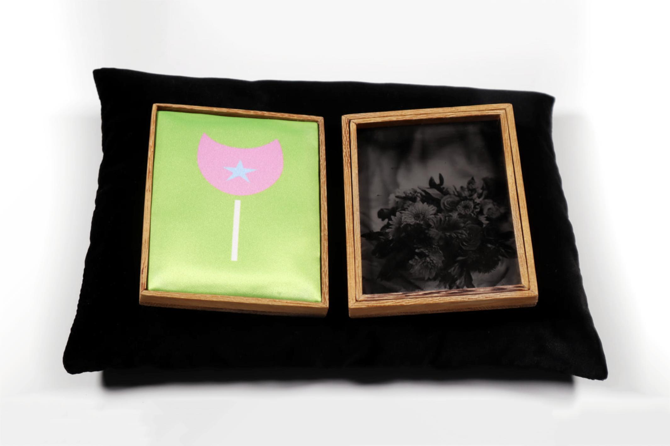 Osun (Offering series,20017 - 2019.) Tintypes, heated press print, Iroko wood,velvet cradle