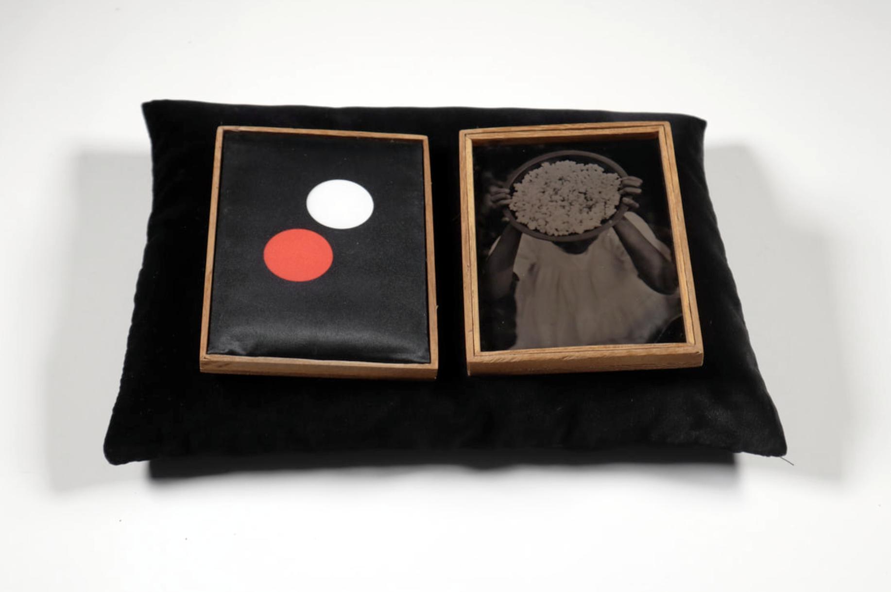 Omolu (Offering series,20017 - 2019.) Tintypes, heated press print, Iroko wood,velvet cradle.