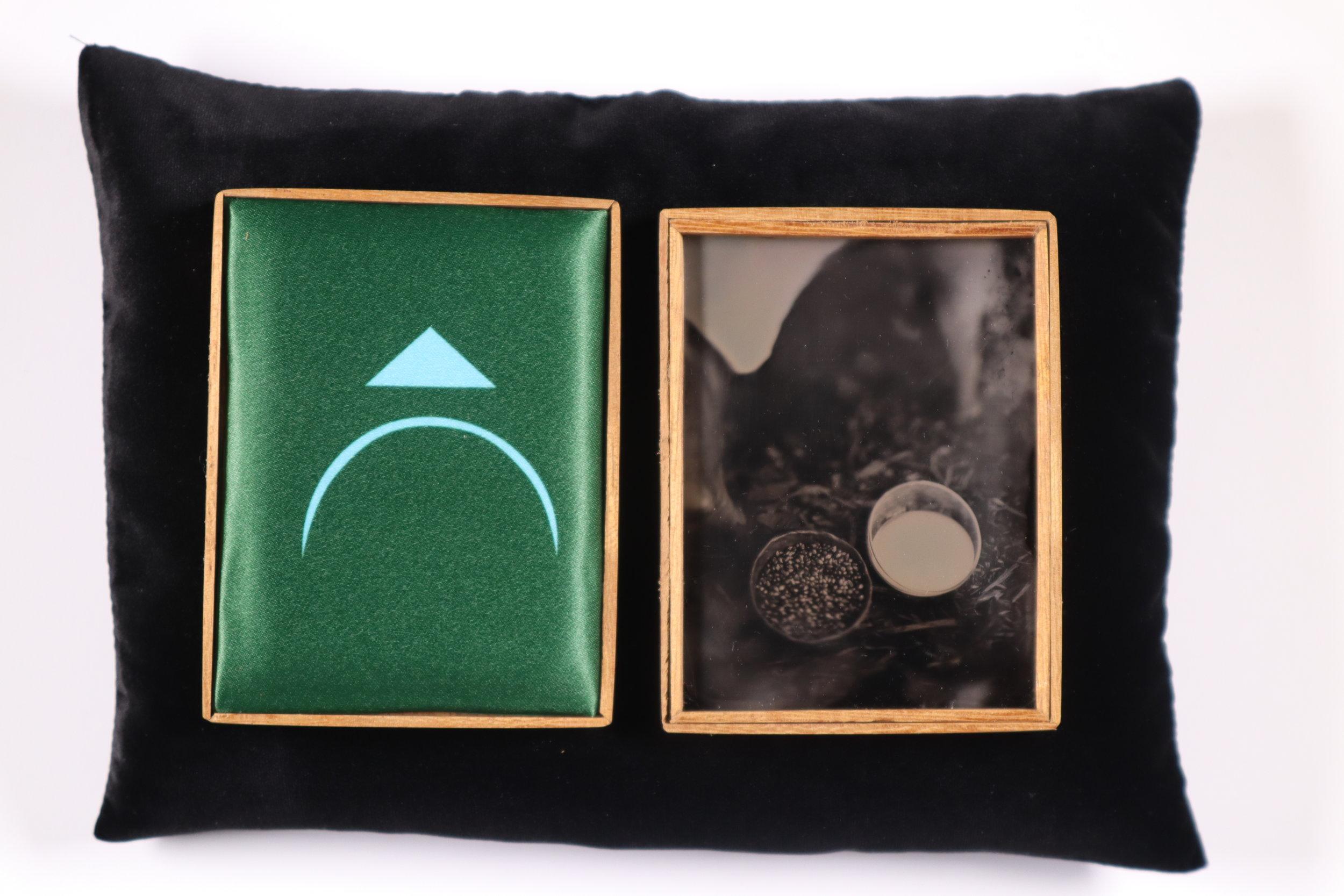 Ososos (Offering series,20017 - 2019.) Tintypes, heated press print, Iroko wood,velvet cradle