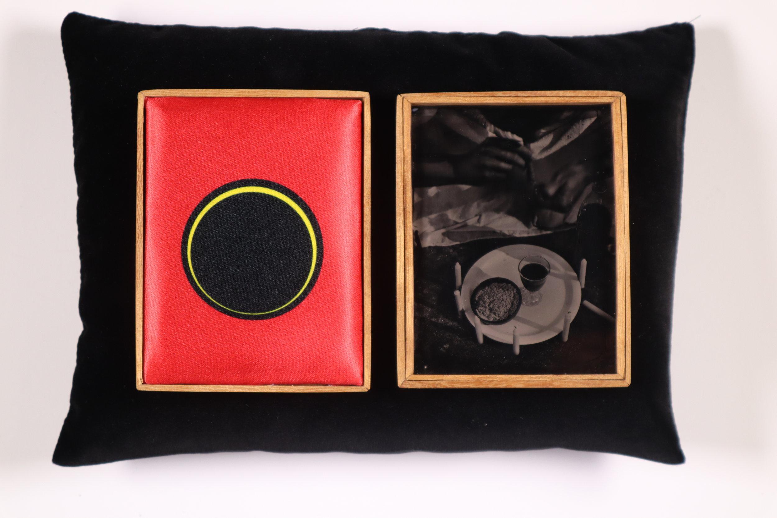 Esu (Offering series,20017 - 2019.) Tintypes, heated press print, Iroko wood,velvet cradle.