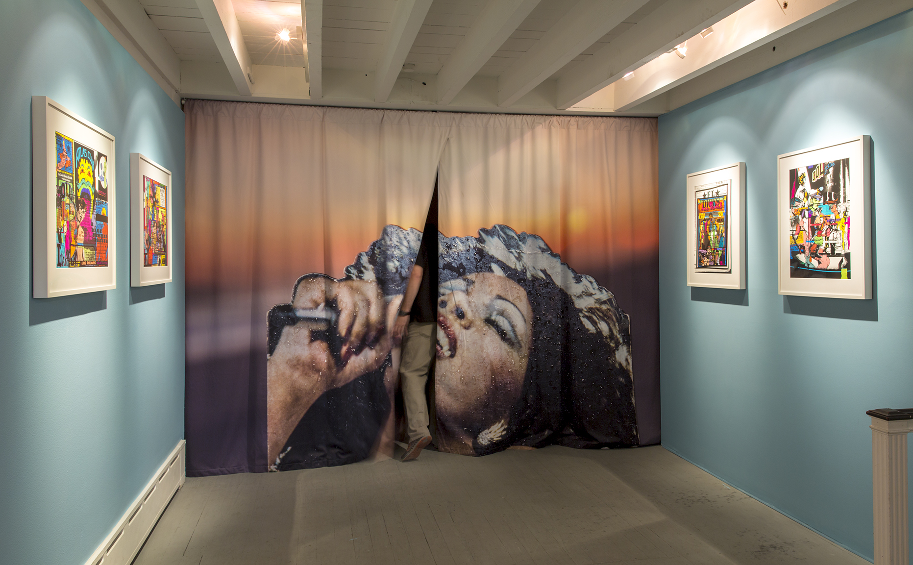 "Live and More , dye sublimation on fabric, 93"" x 123""-145.5"", 2015.  Bayside Revisited  at The Print Center, 2015"