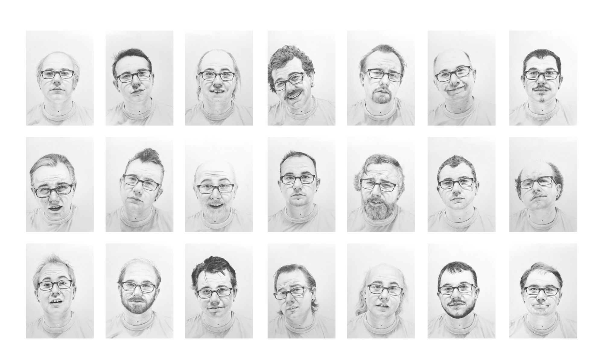 """Untitled (Balding), Graphite on paper, 21 drawings at 7""""x5"""" each, 2017"""