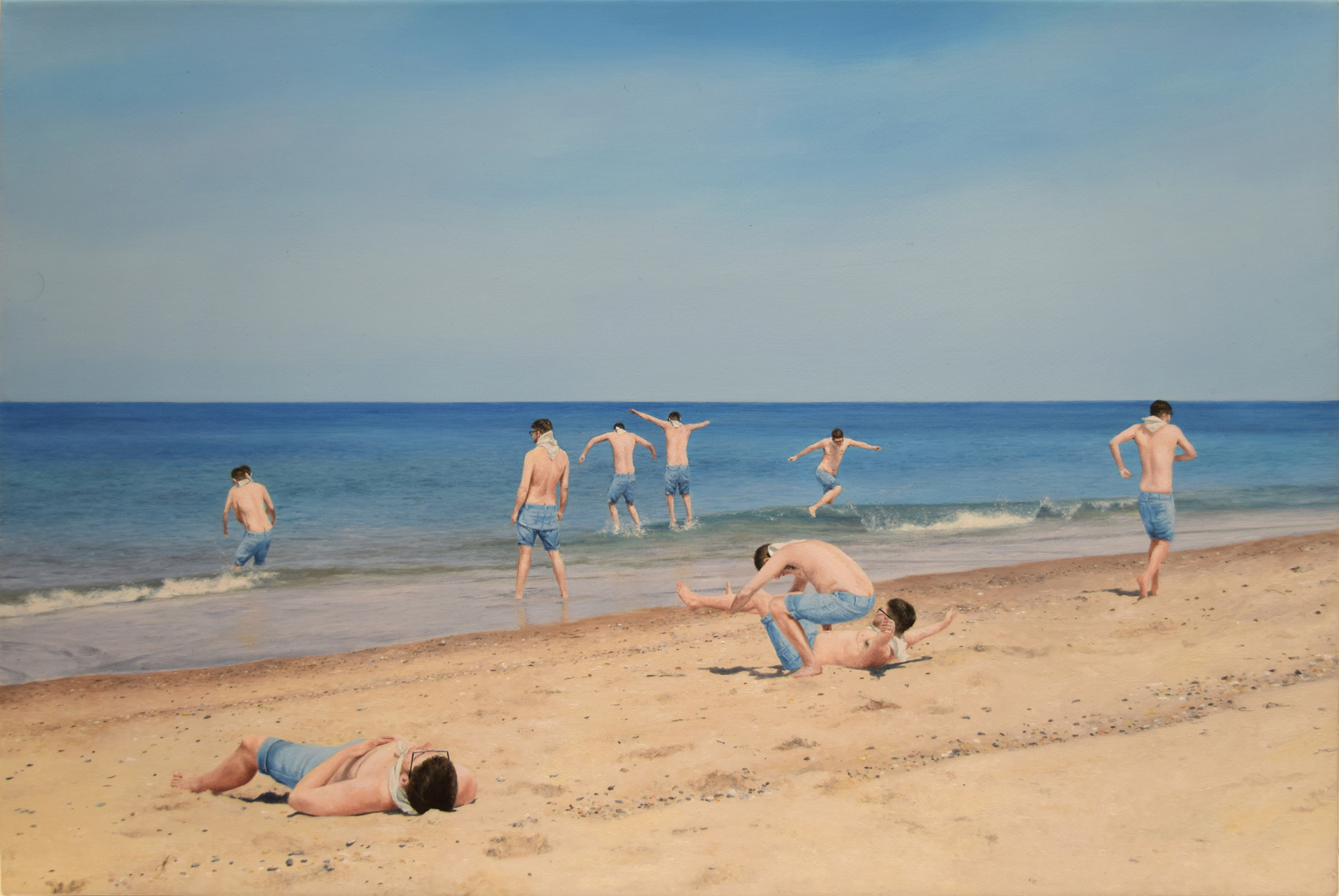"""Untitled (Jumping into the Atlantic), 8""""x12"""", oil on canvas, 2018"""
