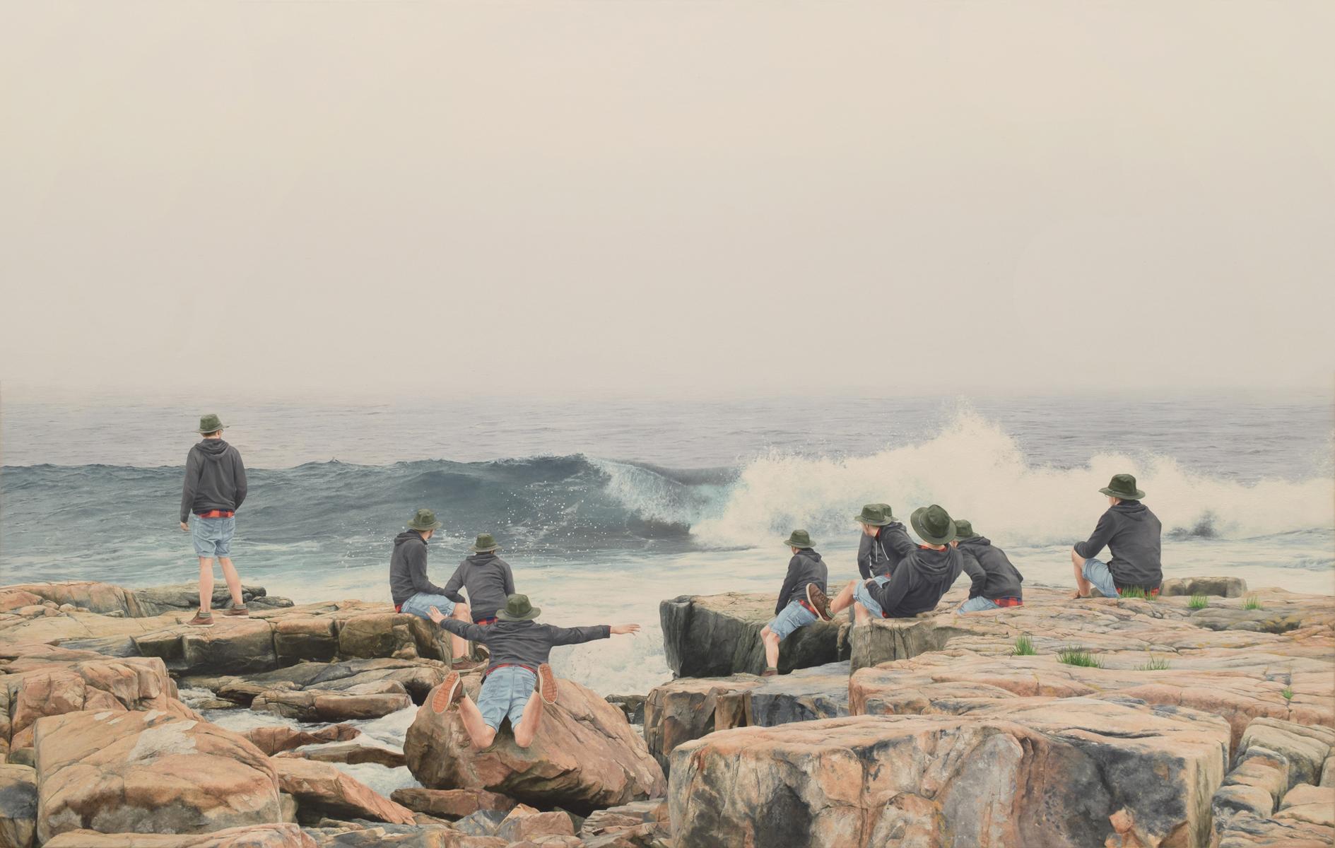 "Untitled (Coast of Maine 2), 19""x30"" oil on canvas, 2018"