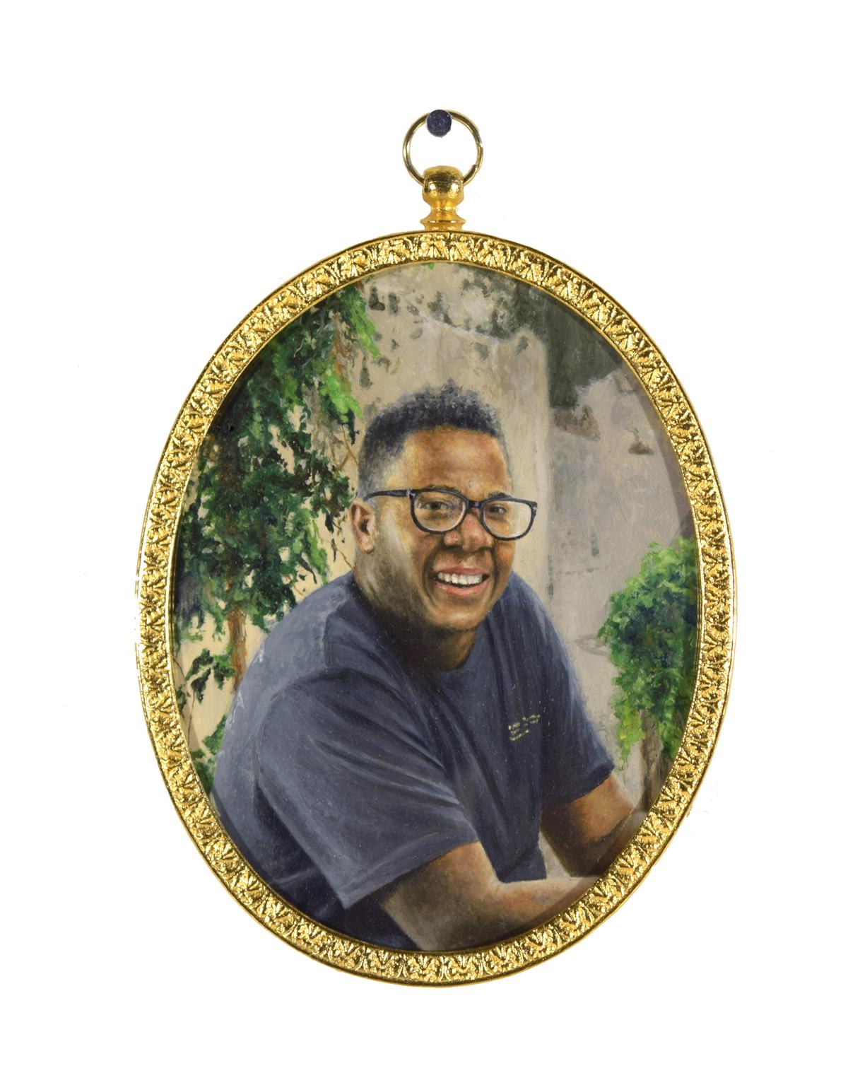 """Portrait of Nickolai Walker (He/Him), 3.75""""x3"""" framed, oil on paper"""
