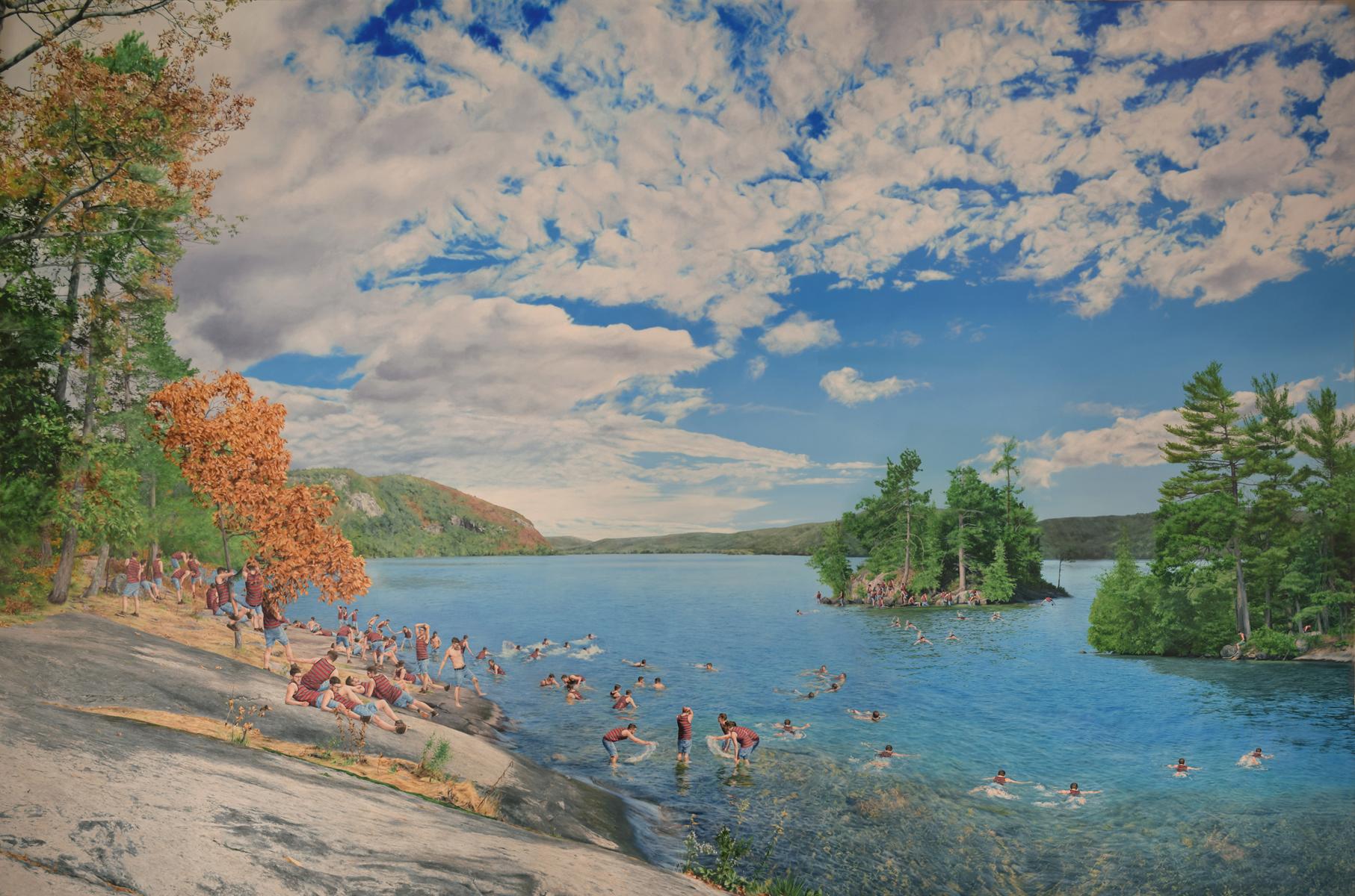 "Untitled (Lake George), 57""x86"", oil on canvas, 2018"