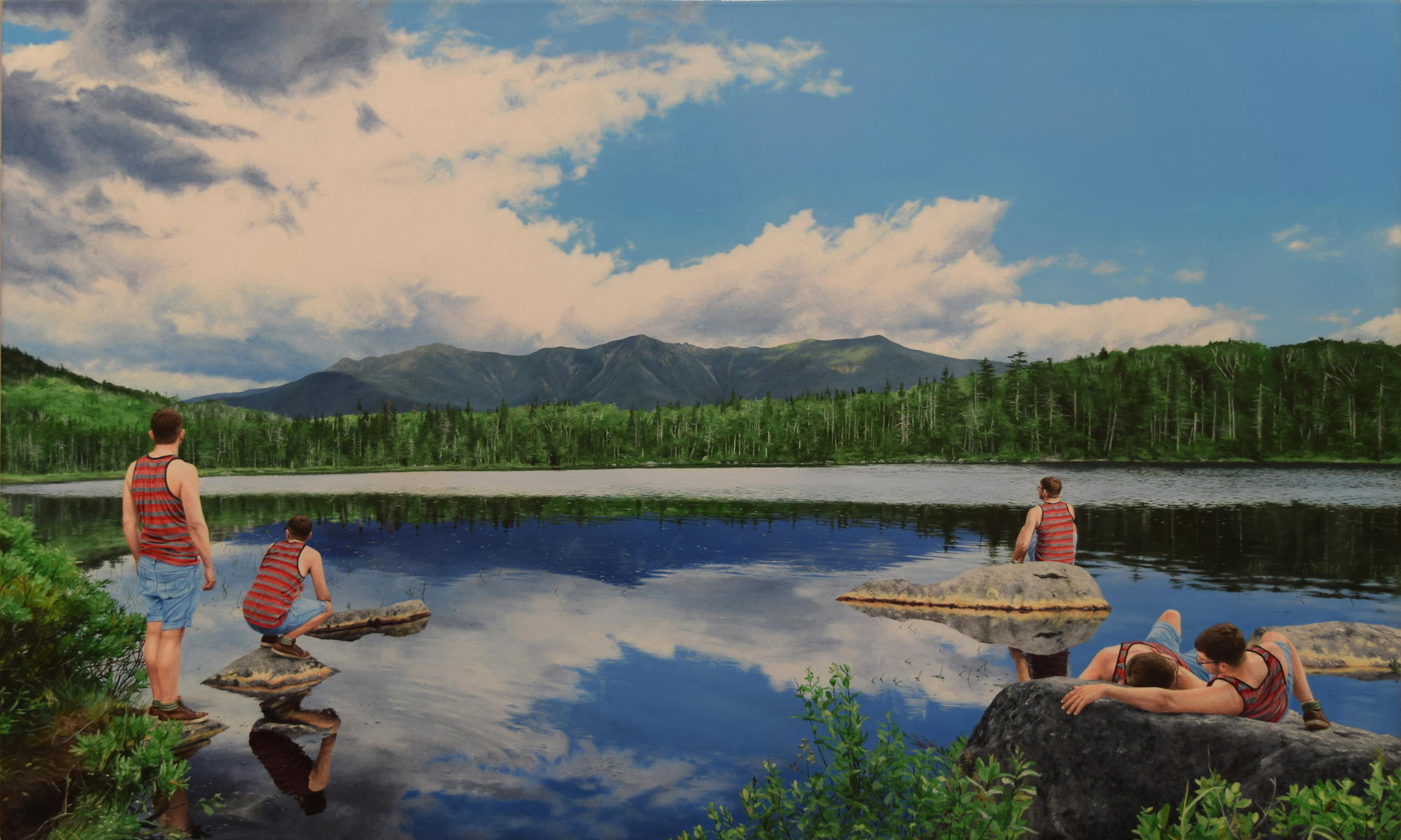 """Untitled (Lonely Lake), 12""""x20"""" oil on canvas, 2018"""