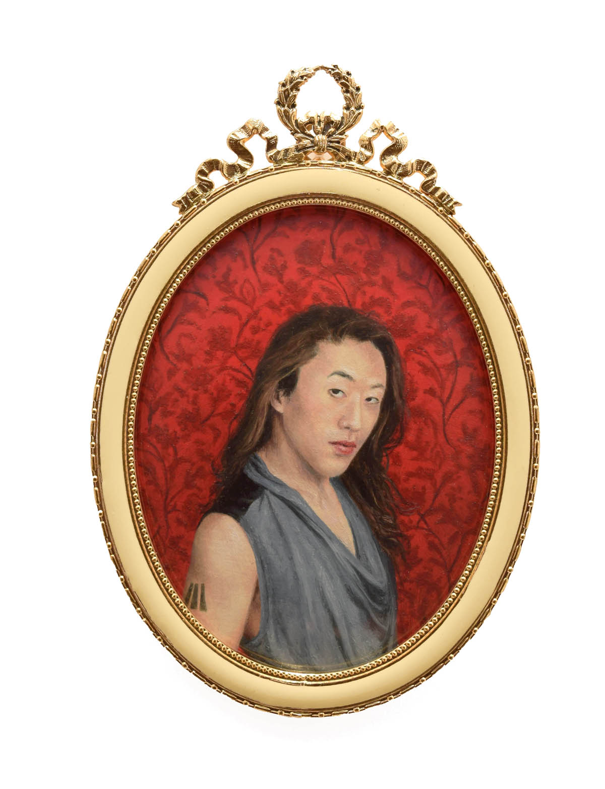 """Portrait of Nicky Endres (They/Them/She/Her), 4.25""""x3"""" framed, oil on paper"""