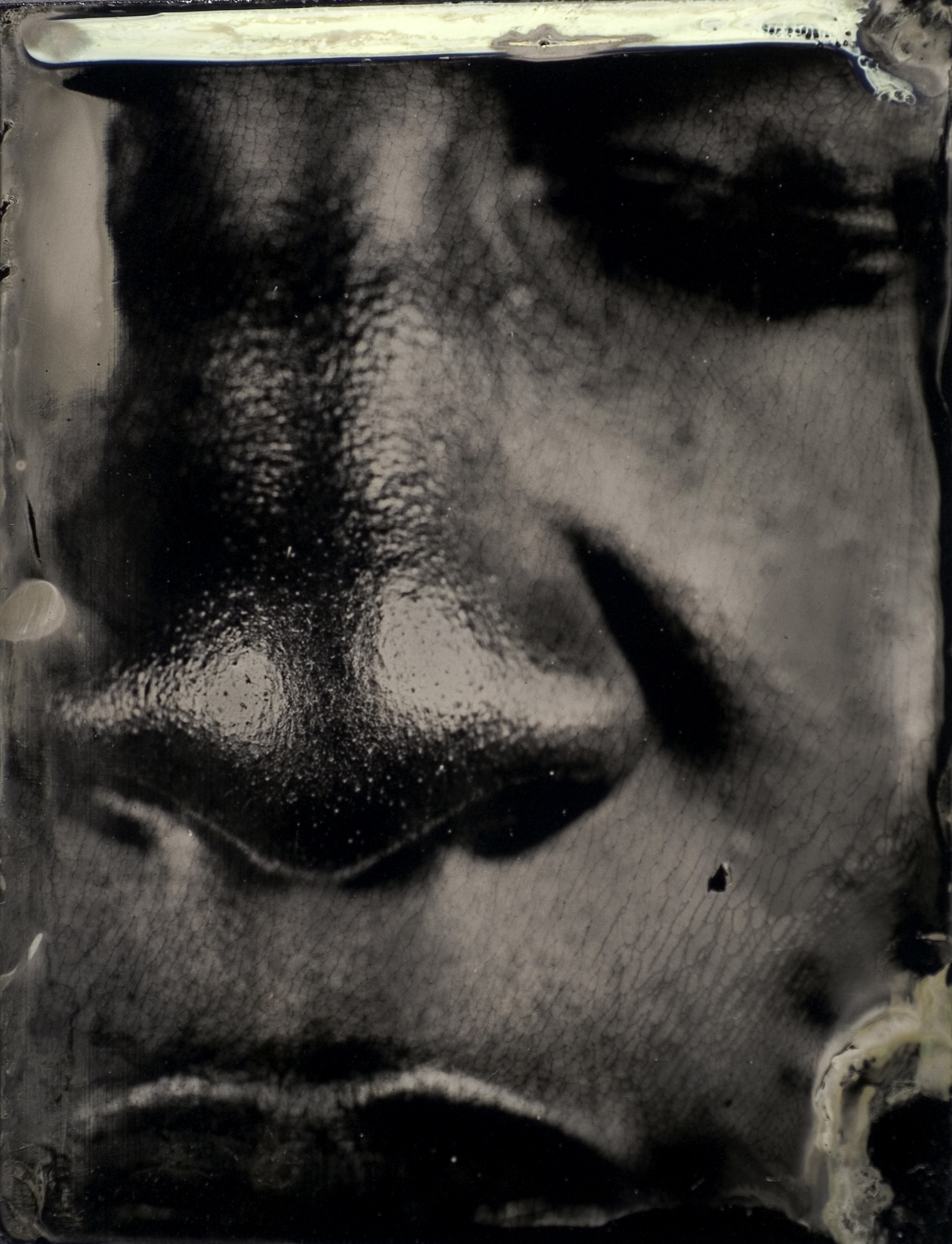 """From the Series  Character Recognition , Plate number 61, Ambrotype on Black glass, 3""""x4"""", 2006-2007"""