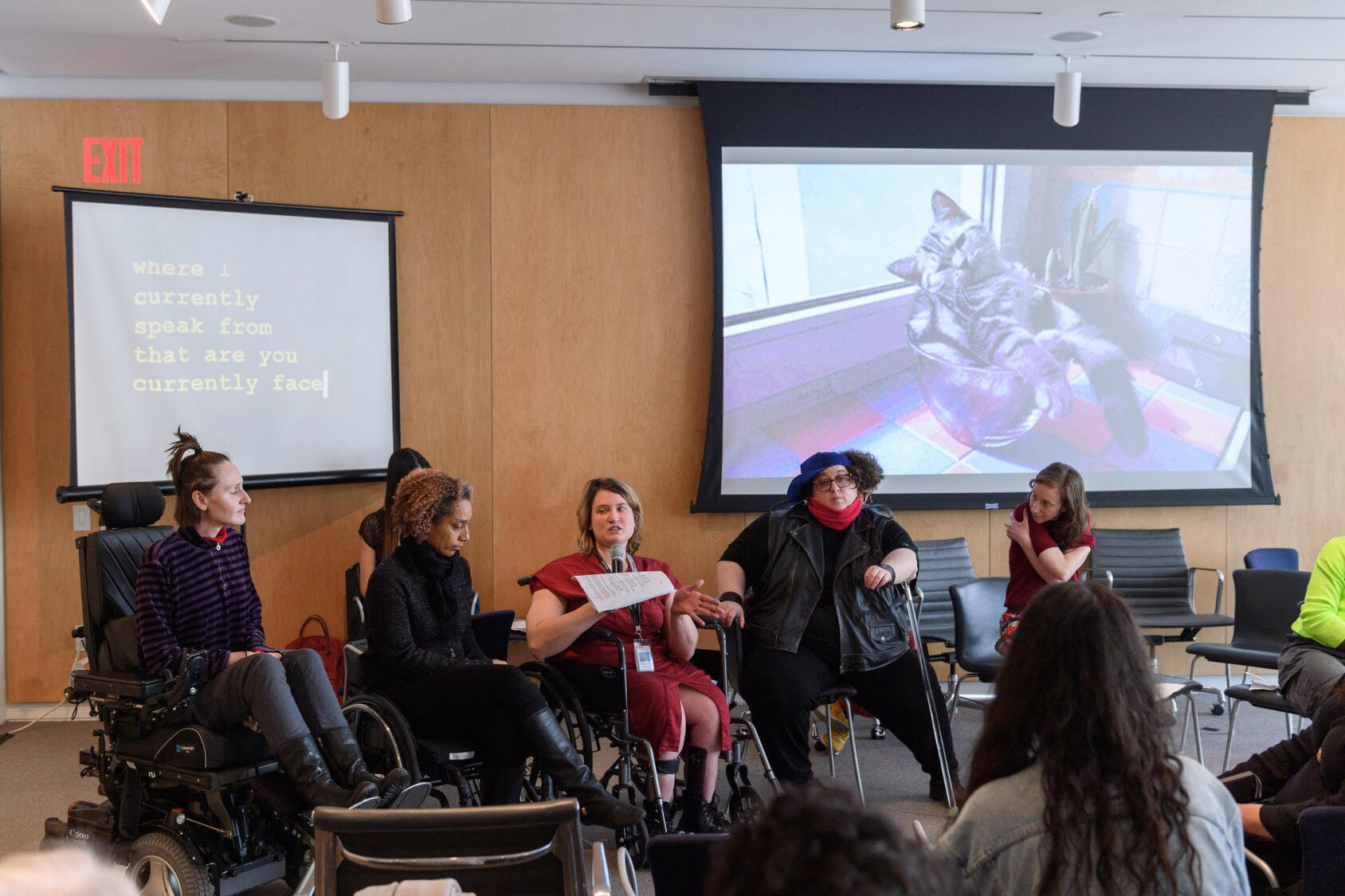 2019, The Whitney Museum hosted a day long conversation as part of and in collaboration with Performance Space's  I Wanna be with You Everywhere.  Featured in the image are Park McArthur, Alice Sheppard, Madison Zalopany, Constantina Zavitsanos, and Amalle Dublon. Photo credit Filip Wolak