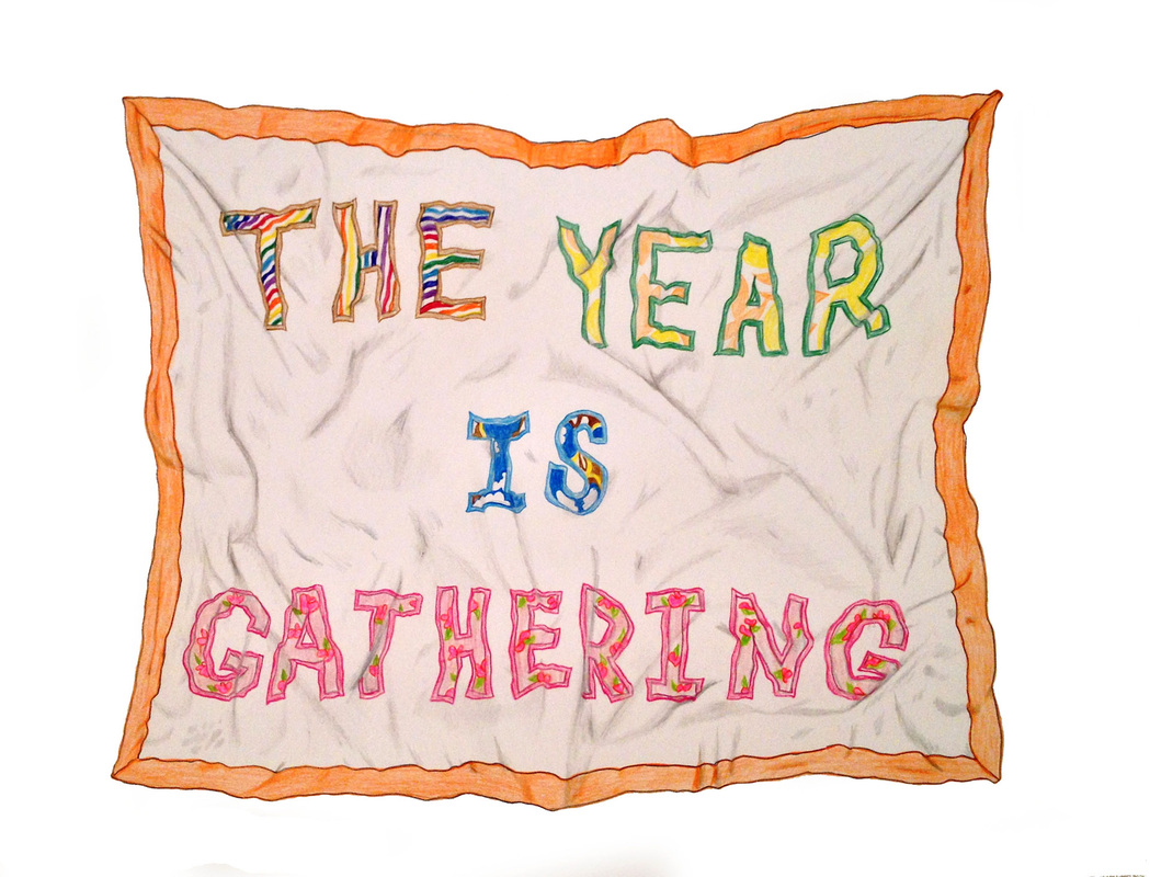 The year is gathering , 2012, 16 x 20 inches. Colored pencil on archival paper