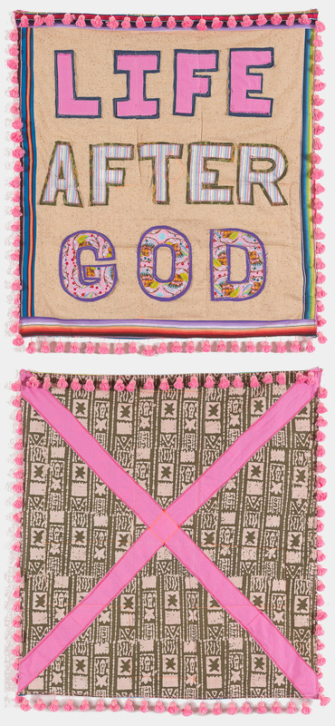 Life After God / untitled (cross) , 2014, 30 x 32 inches. Fabric, batting and thread (after Doug Coupland)