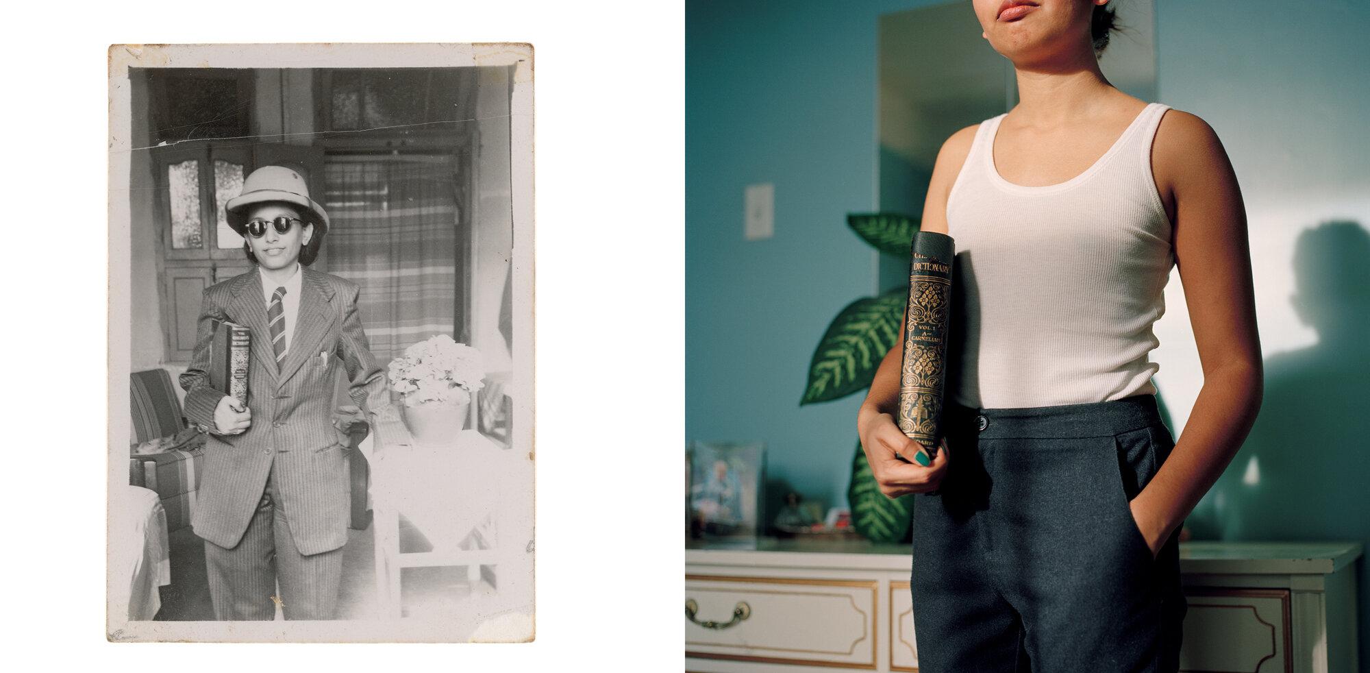 Nani in Safari Hat,  1948.   (Reproduction 2017). and  Self-portrait as Nani,  2017.