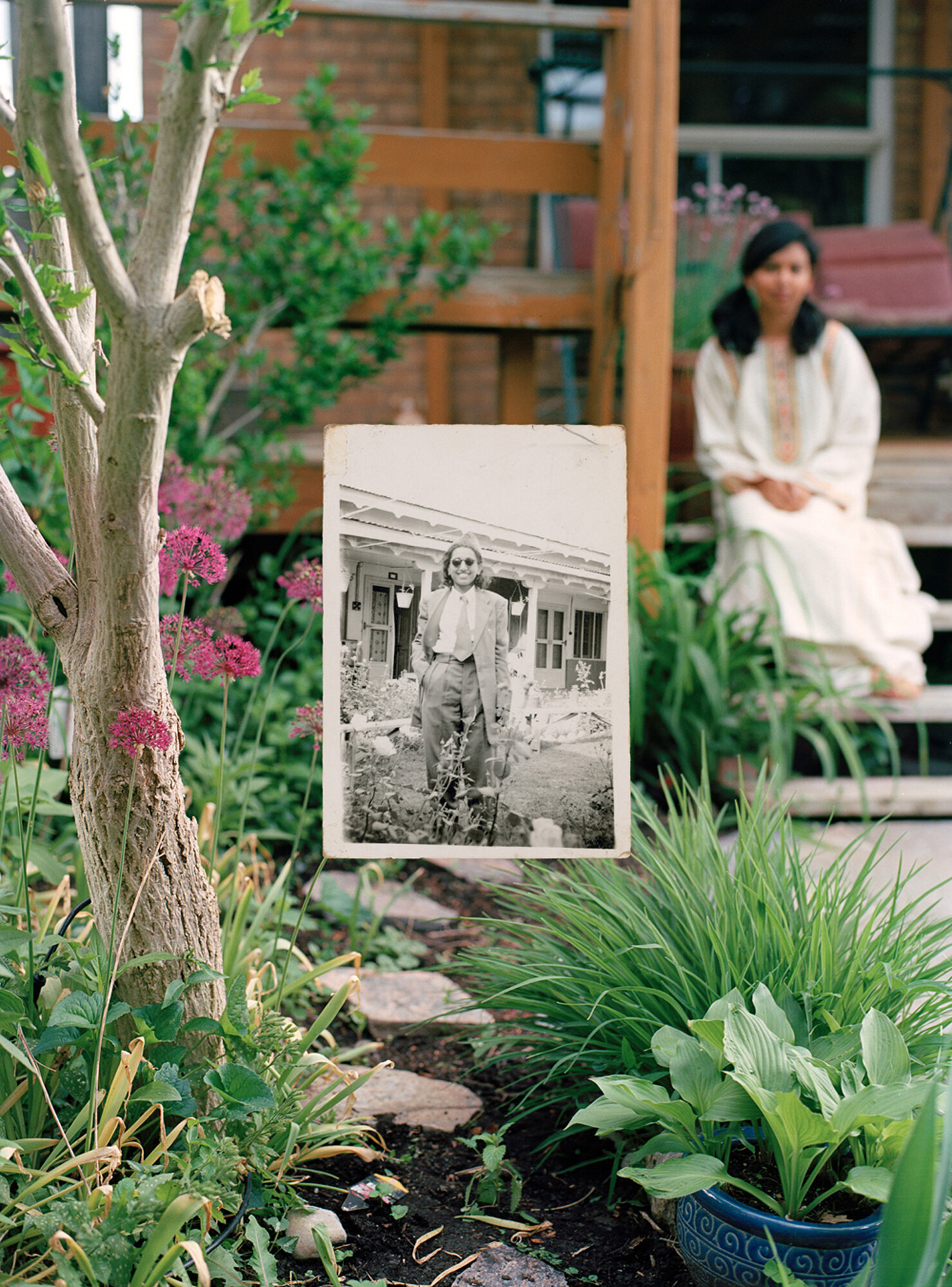 Self-portrait in the Garden,  2017. and  Nani in the Garden (2),  1948.   (Reproduction 2017).