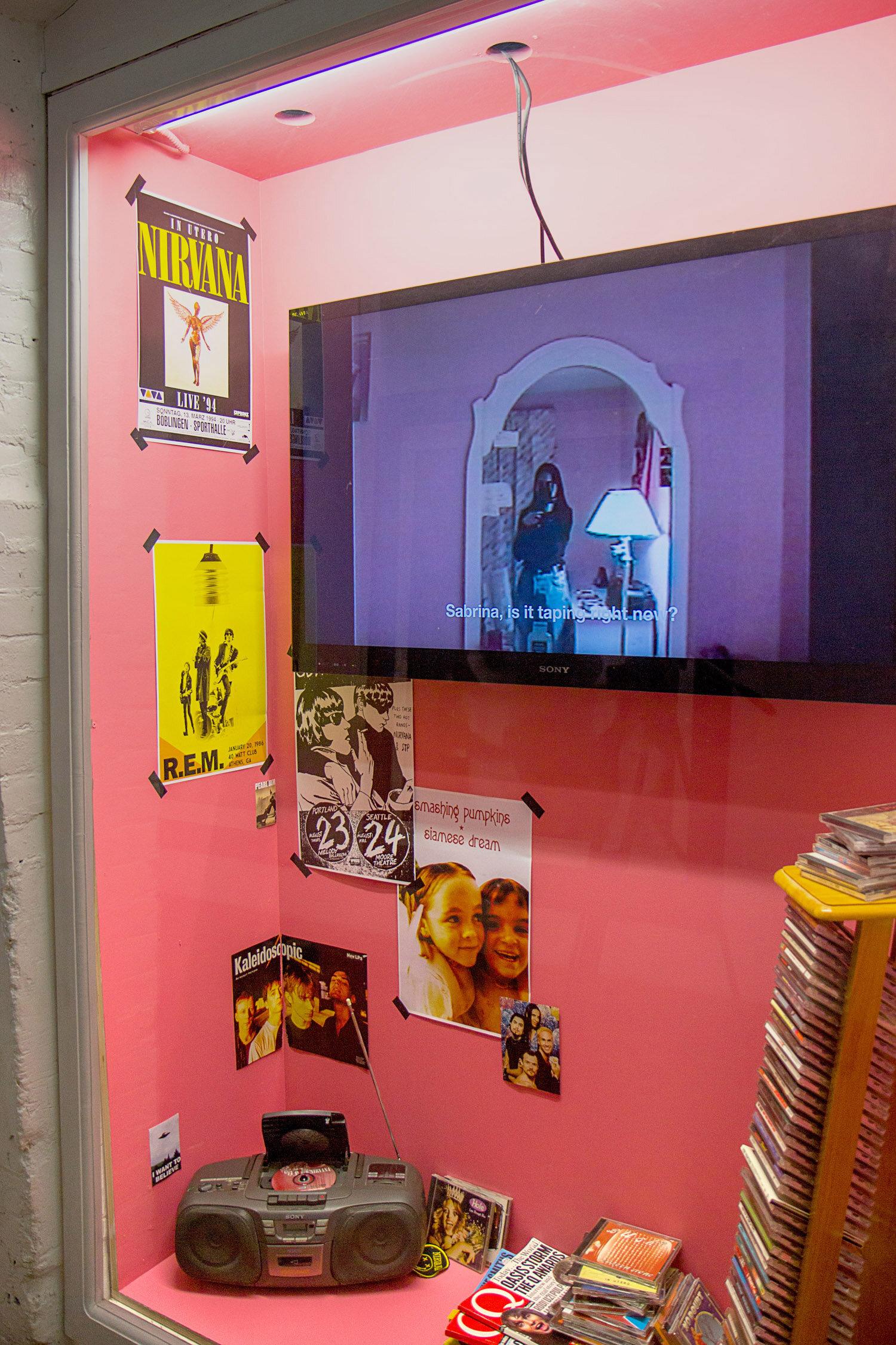 Installation views in Trinity Square Video's vitrine space, Toronto 2017.