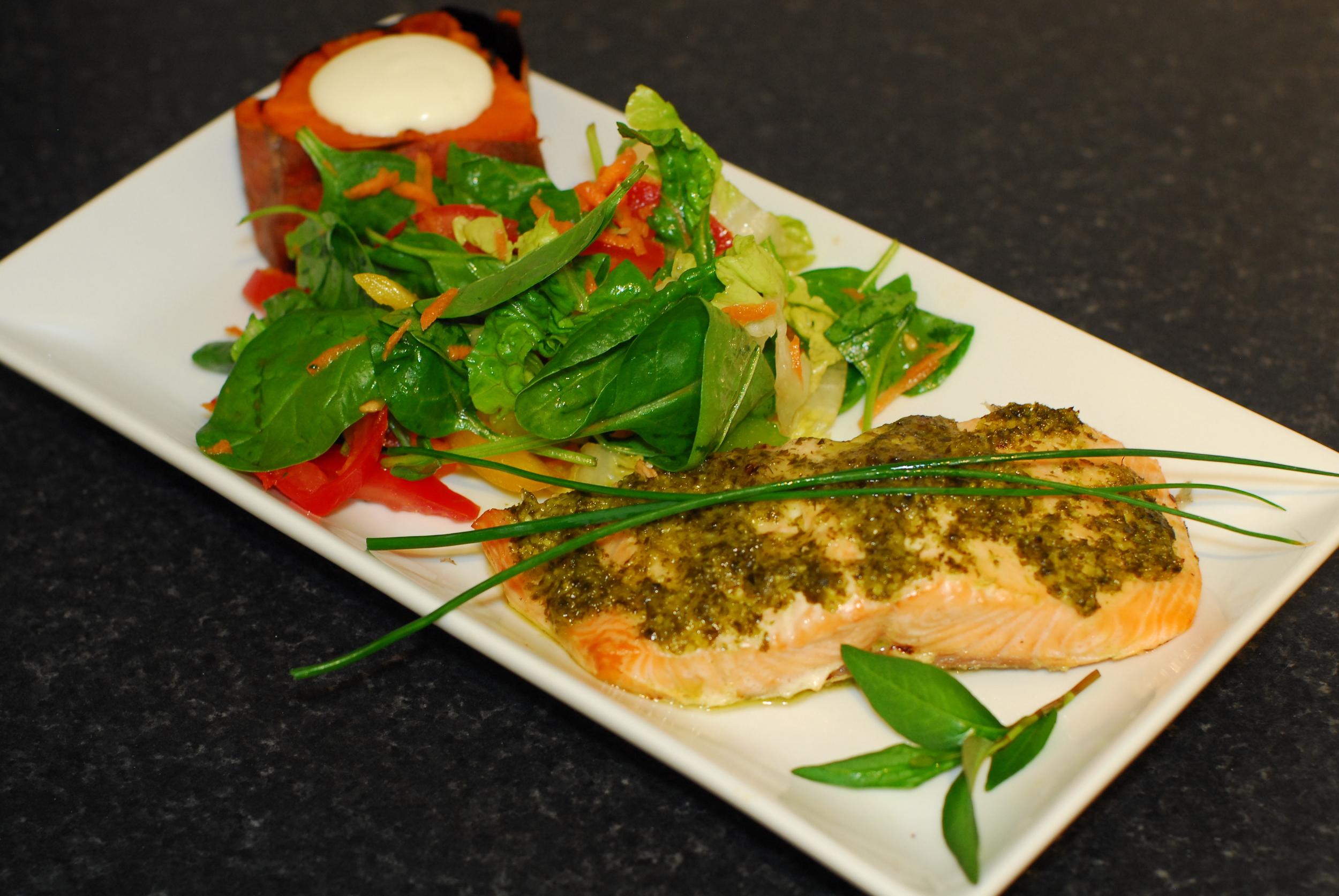 Salmon, salad and sweet potato