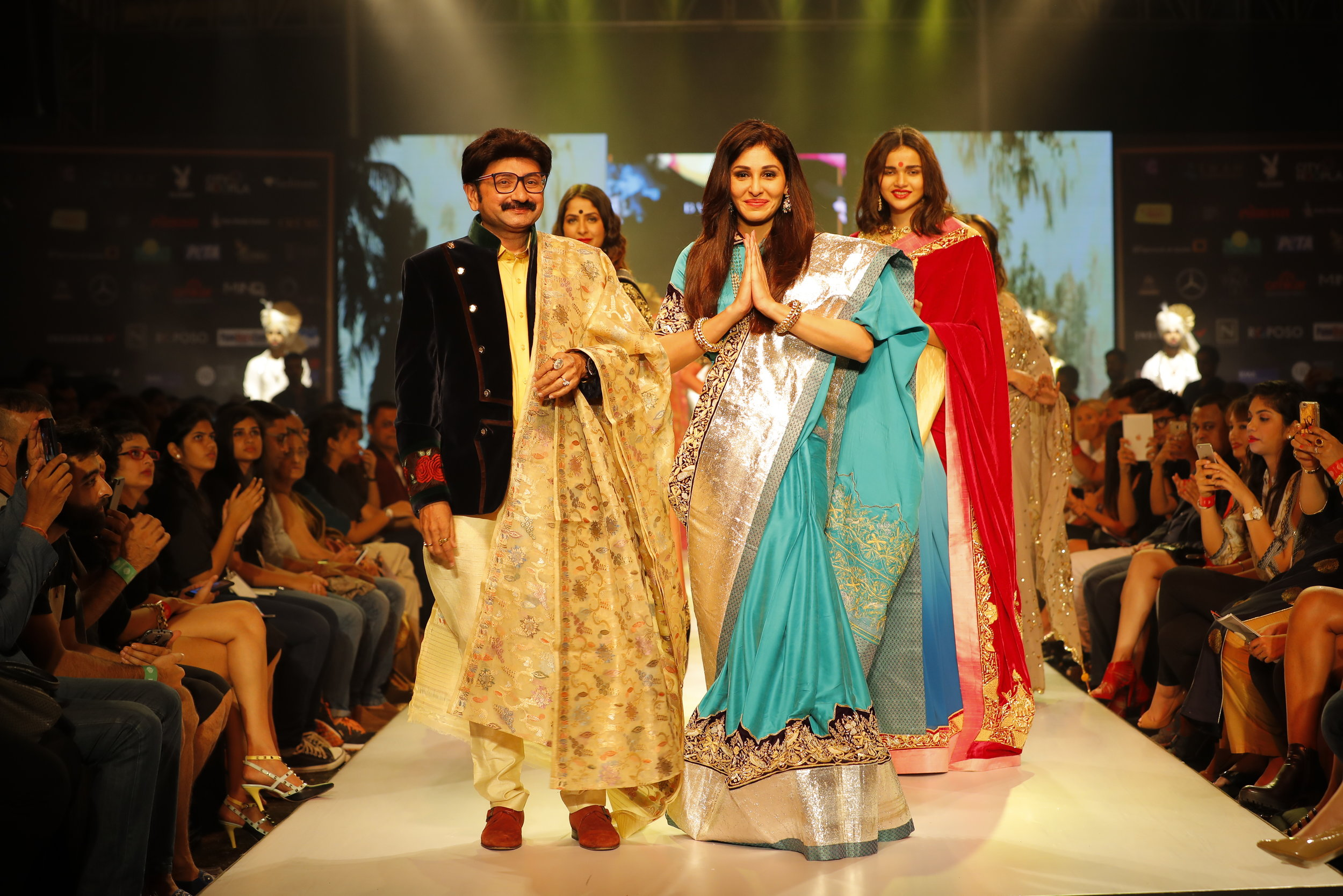 Actress Pooja Chopra as showstopper with Designer Ashok Maaney