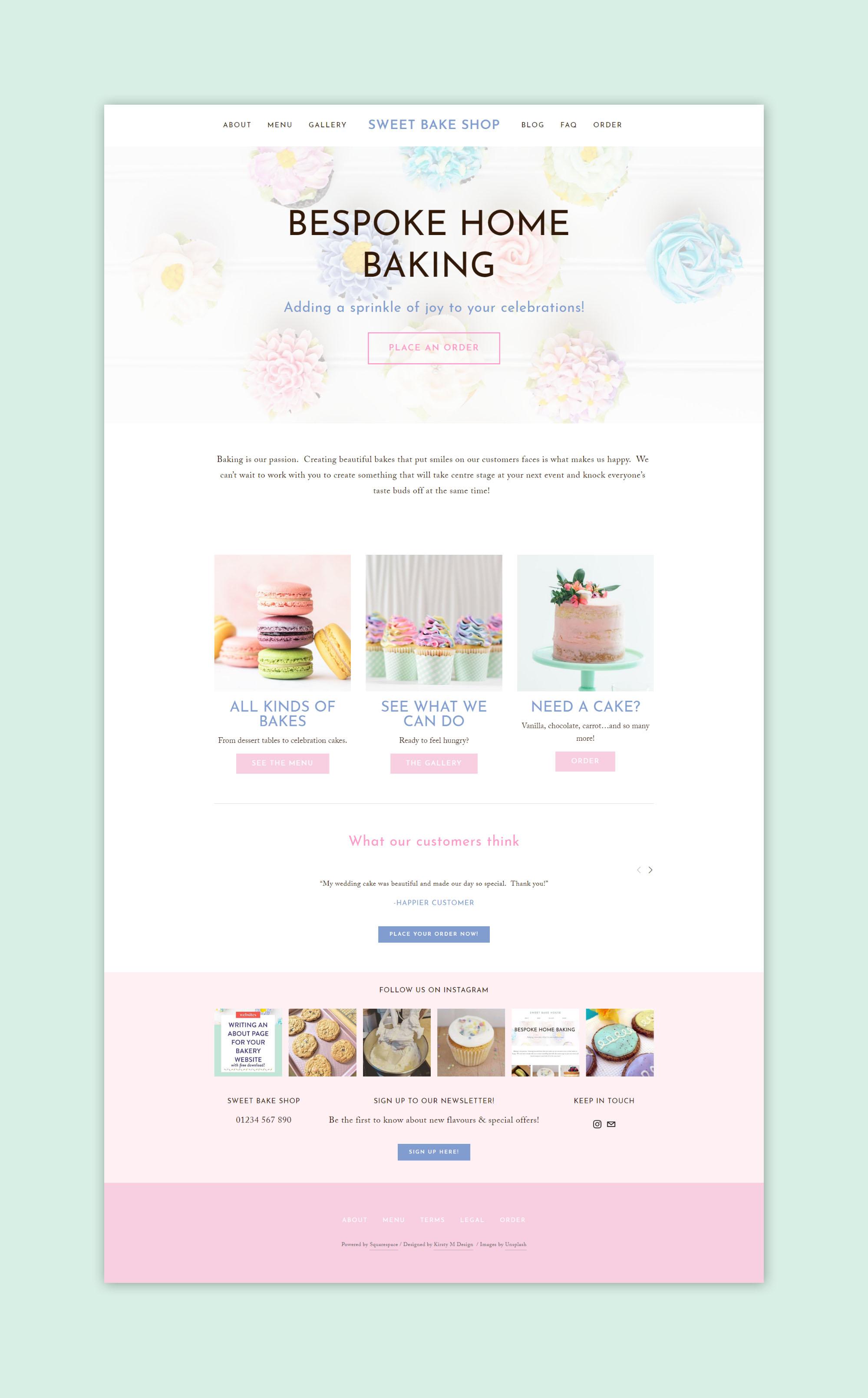 template bakery website