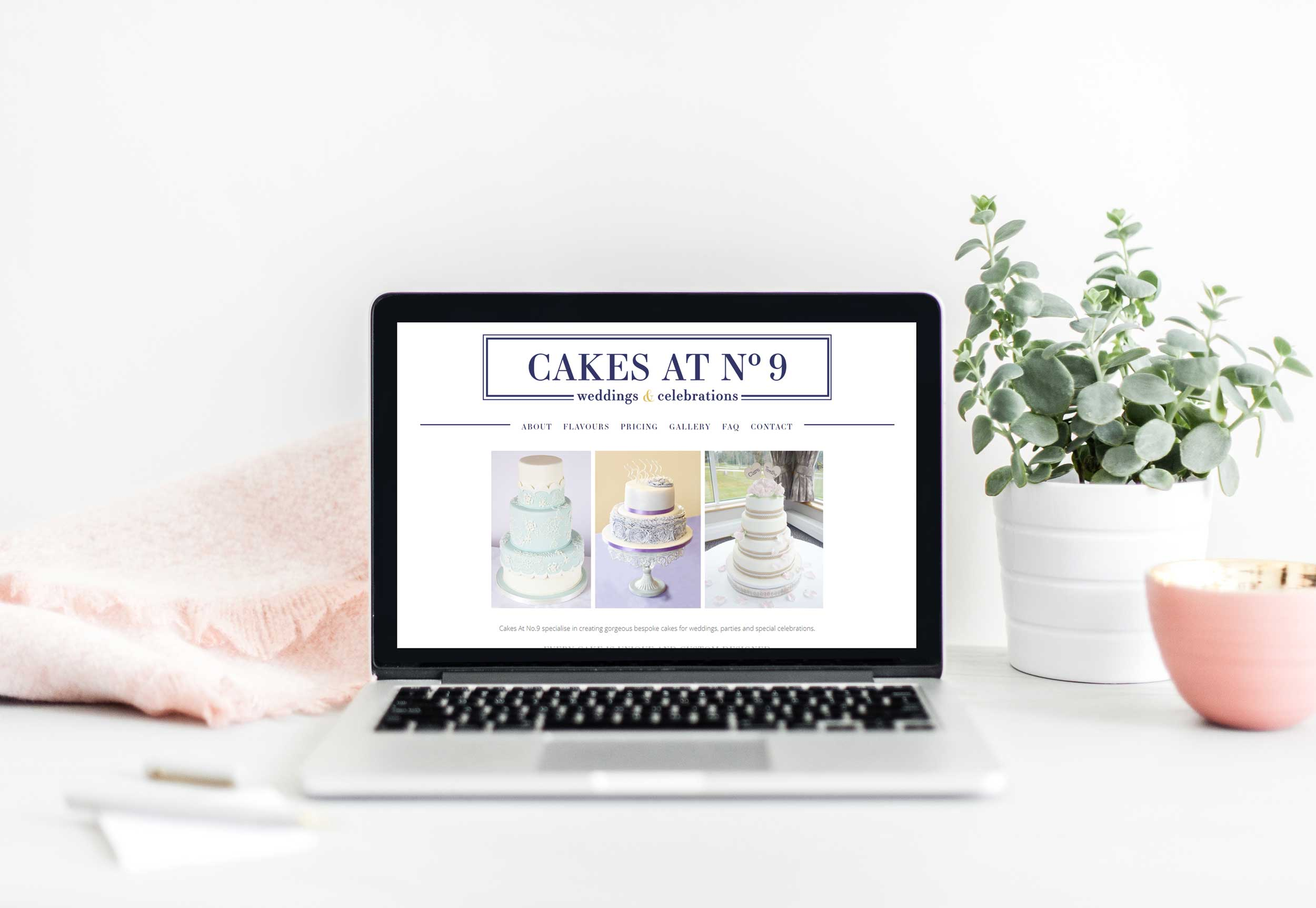 Laptop with bakery website example, save time with a frequently asked questions page on your website