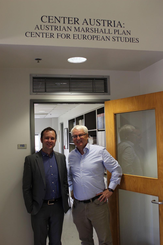 Photo: Dr. Markus Schweiger (left) with Center Austria's director, Professor Günter Bischof.