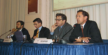 Daniel Hamilton, Gerhard Mangott, Ferdinand Lacina and Ferdinand Schipfer (from left) at the first conference