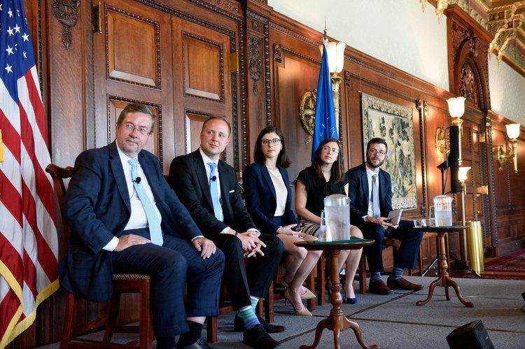 Moderator Daniel Hamilton with panelists Erik Brattberg, Alina Polyakova, Rachel Rizzo, and Steven Keil (c) Kaveh Sardari Photography