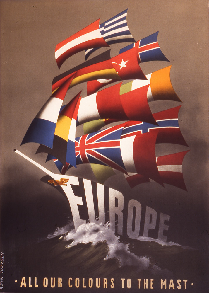 One of a number of posters created by the Economic Cooperation Administration, an agency of the U.S. government, to sell the Marshall Plan in Europe.  Public domain.