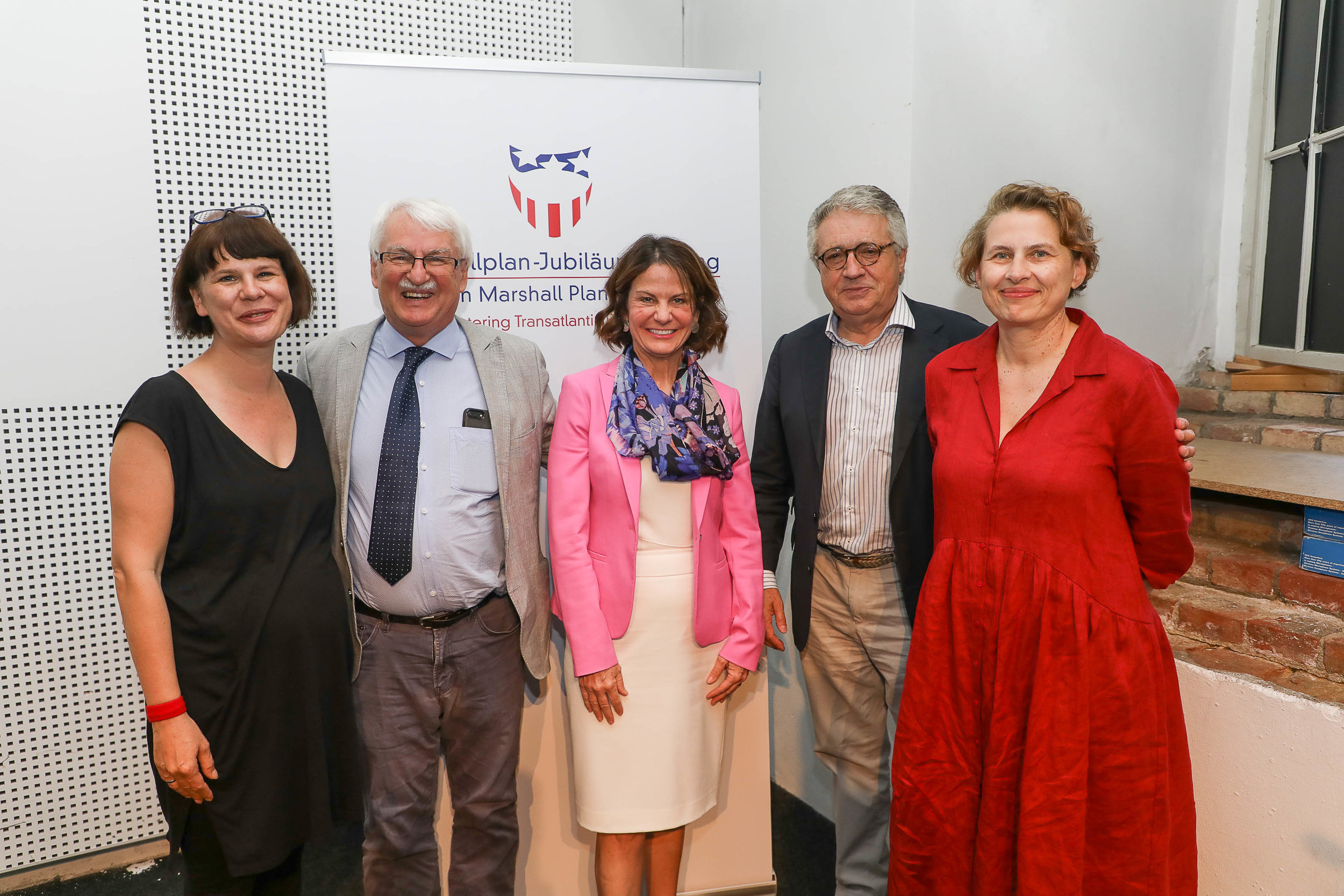 (from left) Prof.essor Alexandra Ganser, University of Vienna; Professor Günter Bischof, The University of New Orleans; Robin L. Dunningham, Minister-Counselor, Embassy of the United States in Austria, Dr. Wolfgang Petritsch, President, Austrian Marshall Plan Foundation; and Dr. Monika Platzer, Director,  Sammlung des Architekturzentrums .