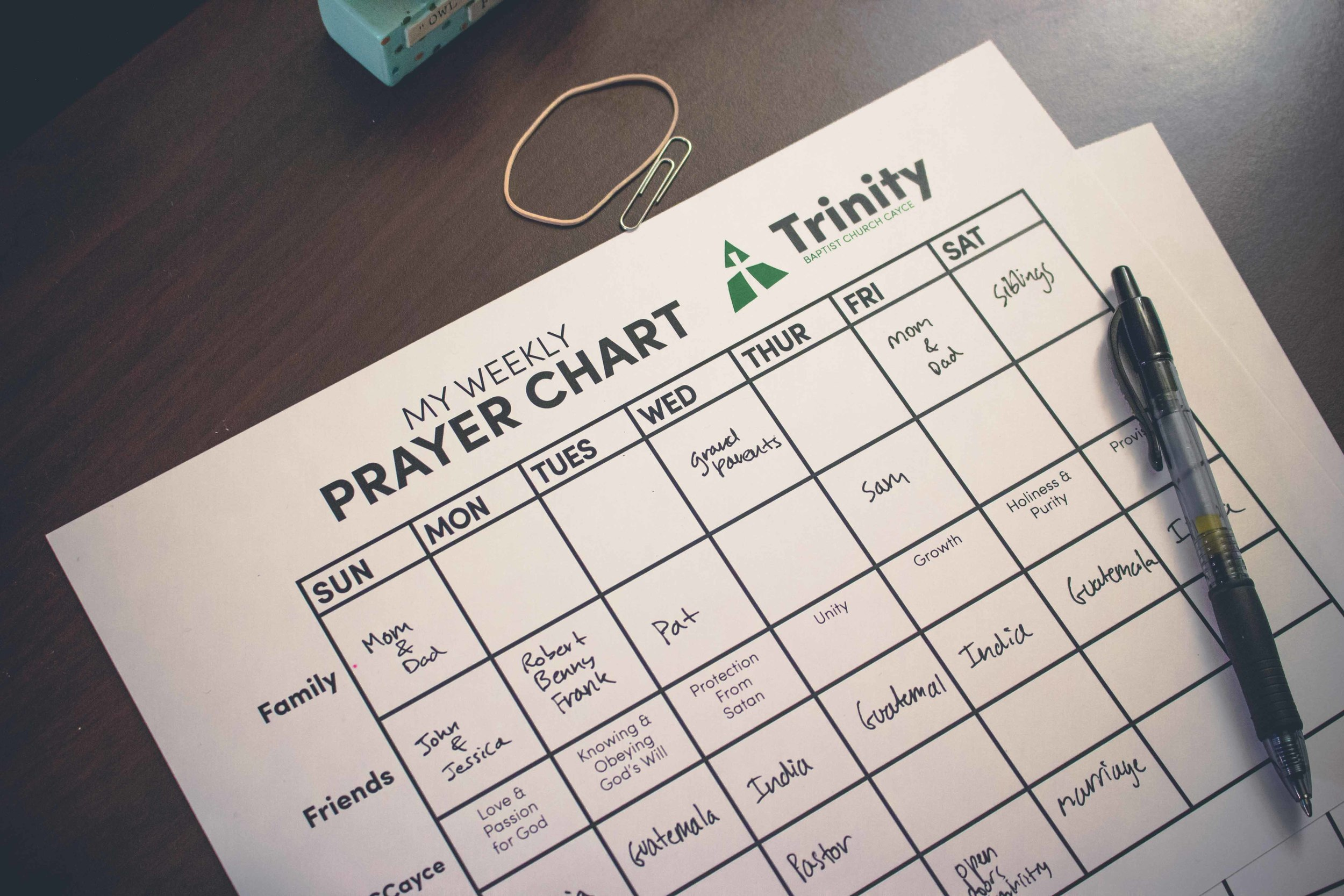 tbccayce weekly prayer chart