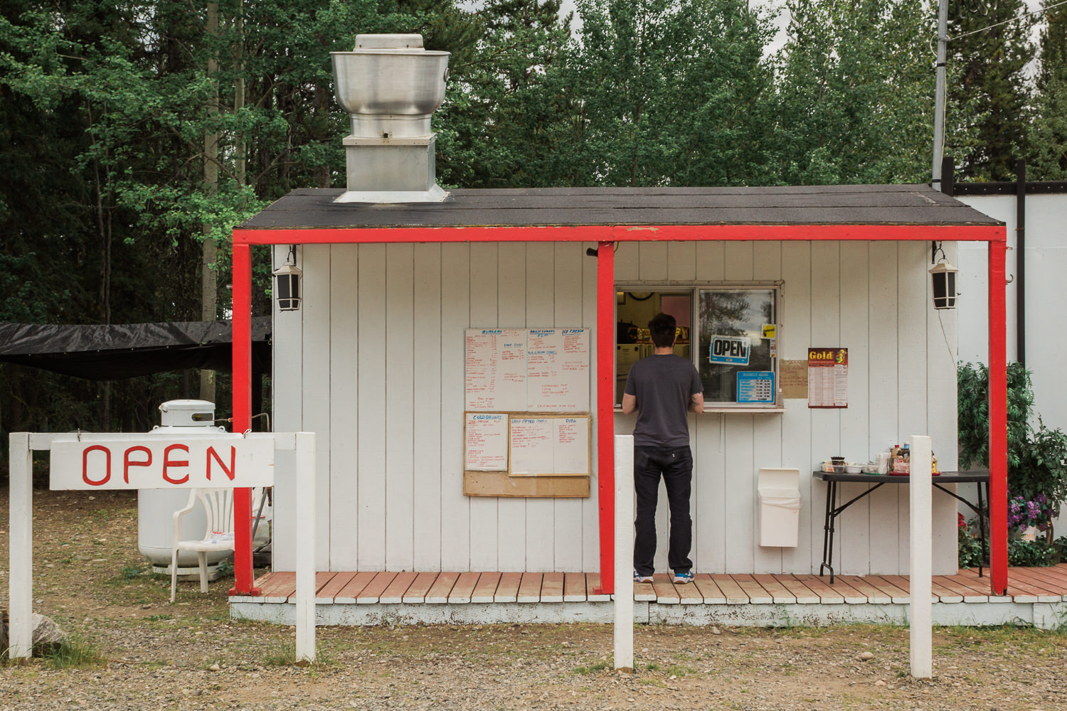 Towns isn't the right word; the stops along the Cassiar are more like outposts than anything else.In Dease Lake we had one choice for dinner: The Shack.