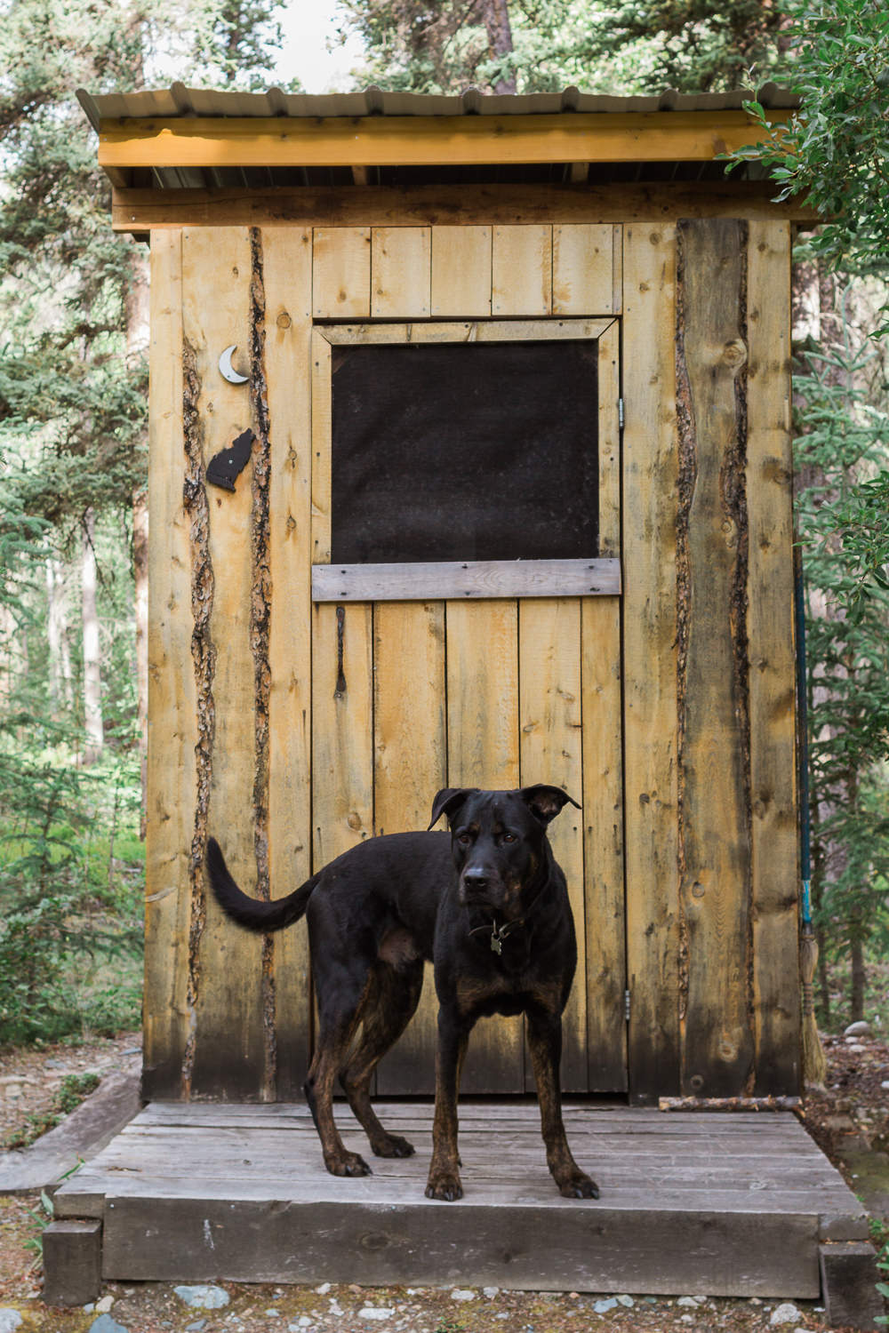 Orin escorting me to the outhouse.
