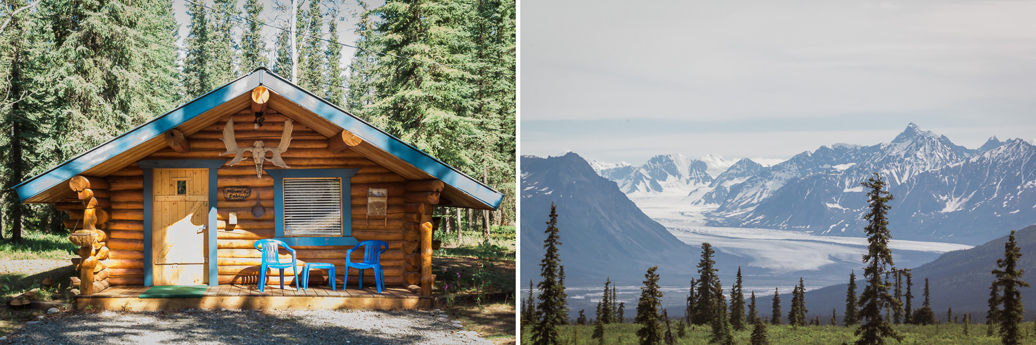 """Left: We spent our first night in Alaska in a perfect log cabin in Tok (pronounced with a long """"o"""" like Tokyo). We awoke to the howling of 50 sled dogs waiting for their breakfast. Turns out an master dog musher lived just down the road.Right: The jaw-dropping final stretch into Anchorage via Glenn Highway, which affords sweeping views of Matanuska Glacier."""