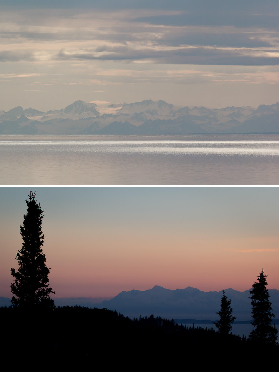 Top: Cook Inlet from the Coastal Trail in downtown Anchorage. Bottom: Cook Inlet from our backyard in Bear Valley. A backyard where a grizzly mom and her two cubs took down a moose two weeks prior to our arrival. Not an especially comforting piece of information to learn from our neighbors the day we moved in. Since then bears have been out of sight, but never altogether out of mind.