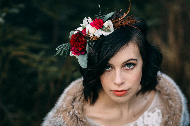 Winter boho flower crown by Natasha at Paper Peony