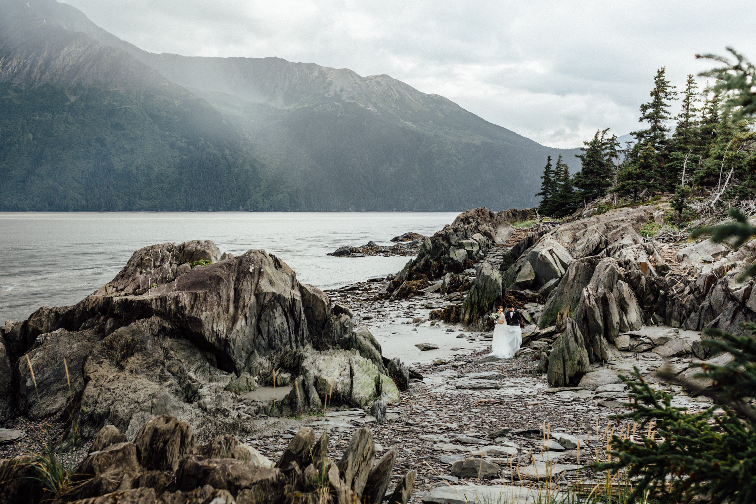 Couple just married at Bird Point, Alaska