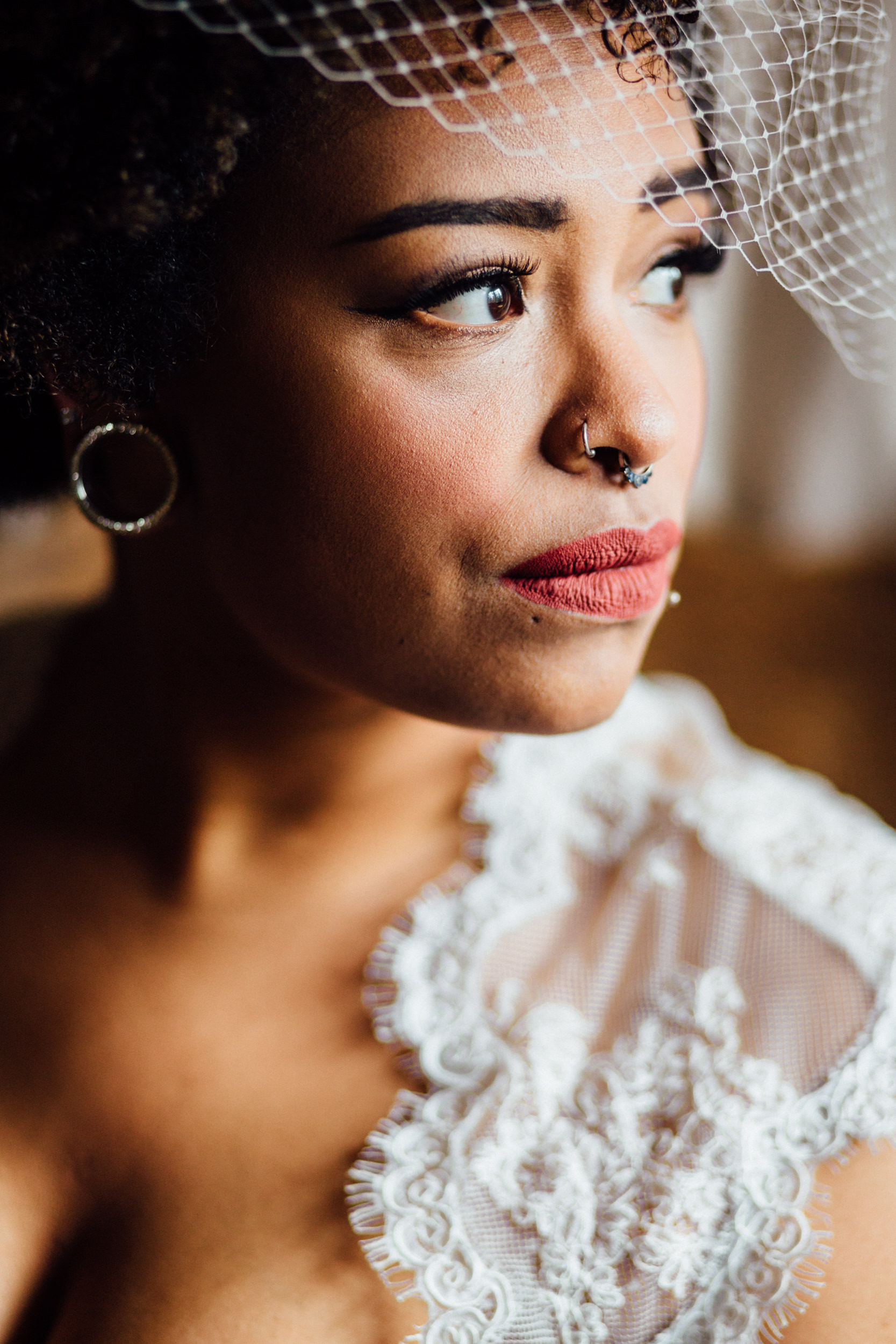 Bridal portrait in window light