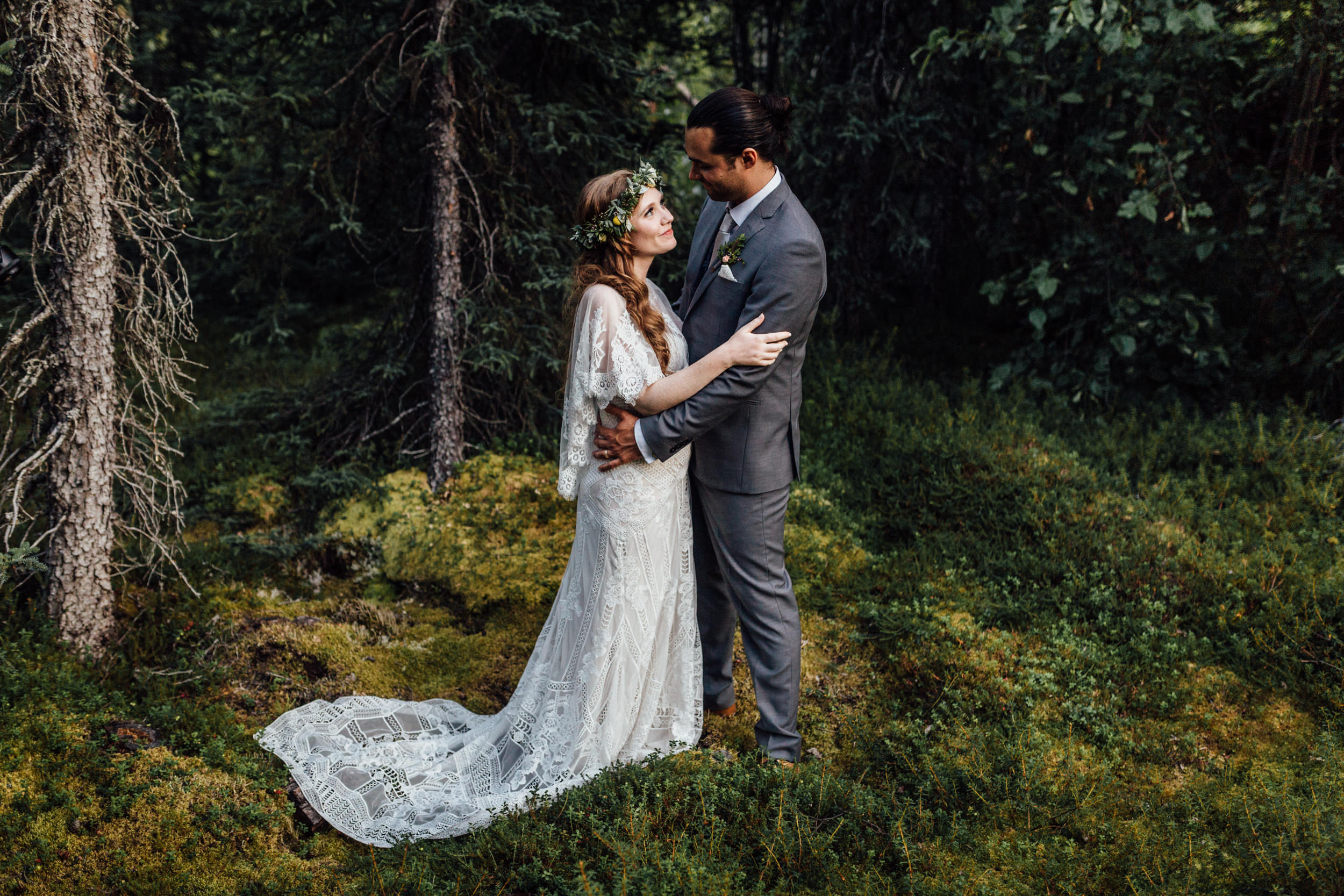 Intimate portrait in mossy Alaskan forest