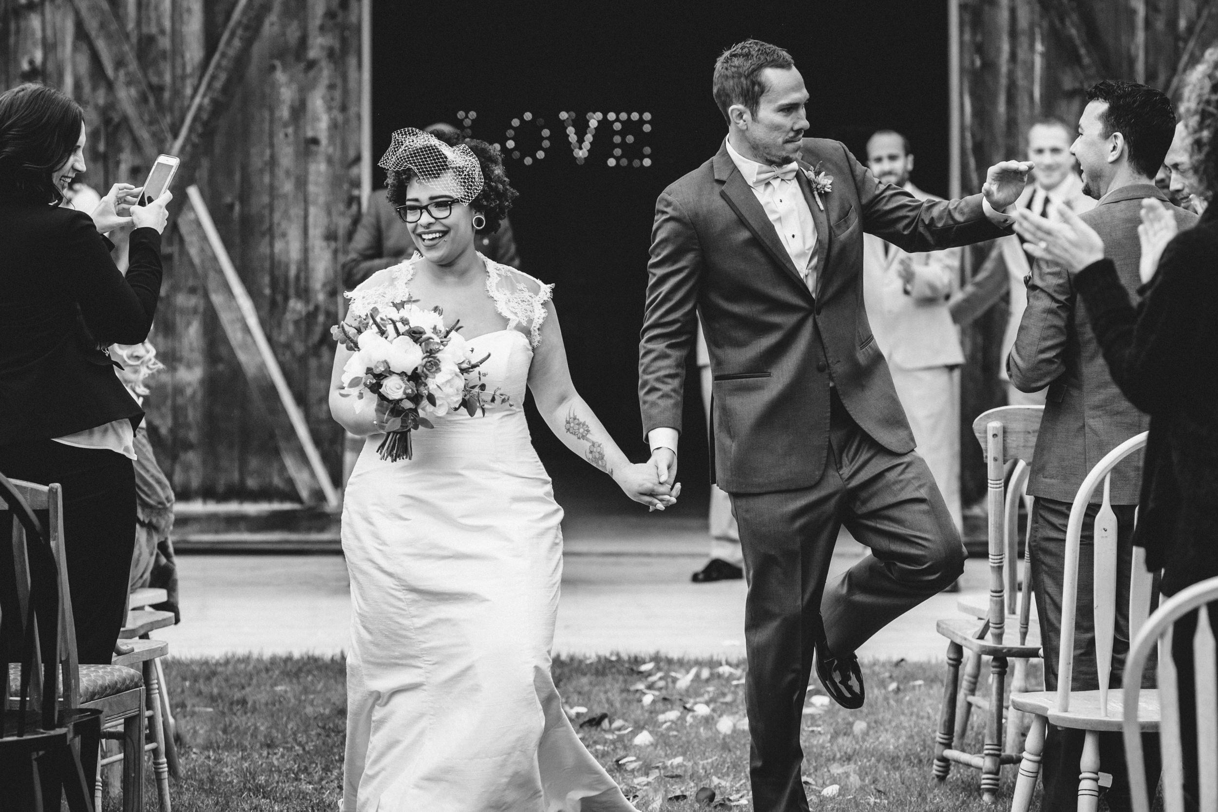 Just married at Gloryview Farm