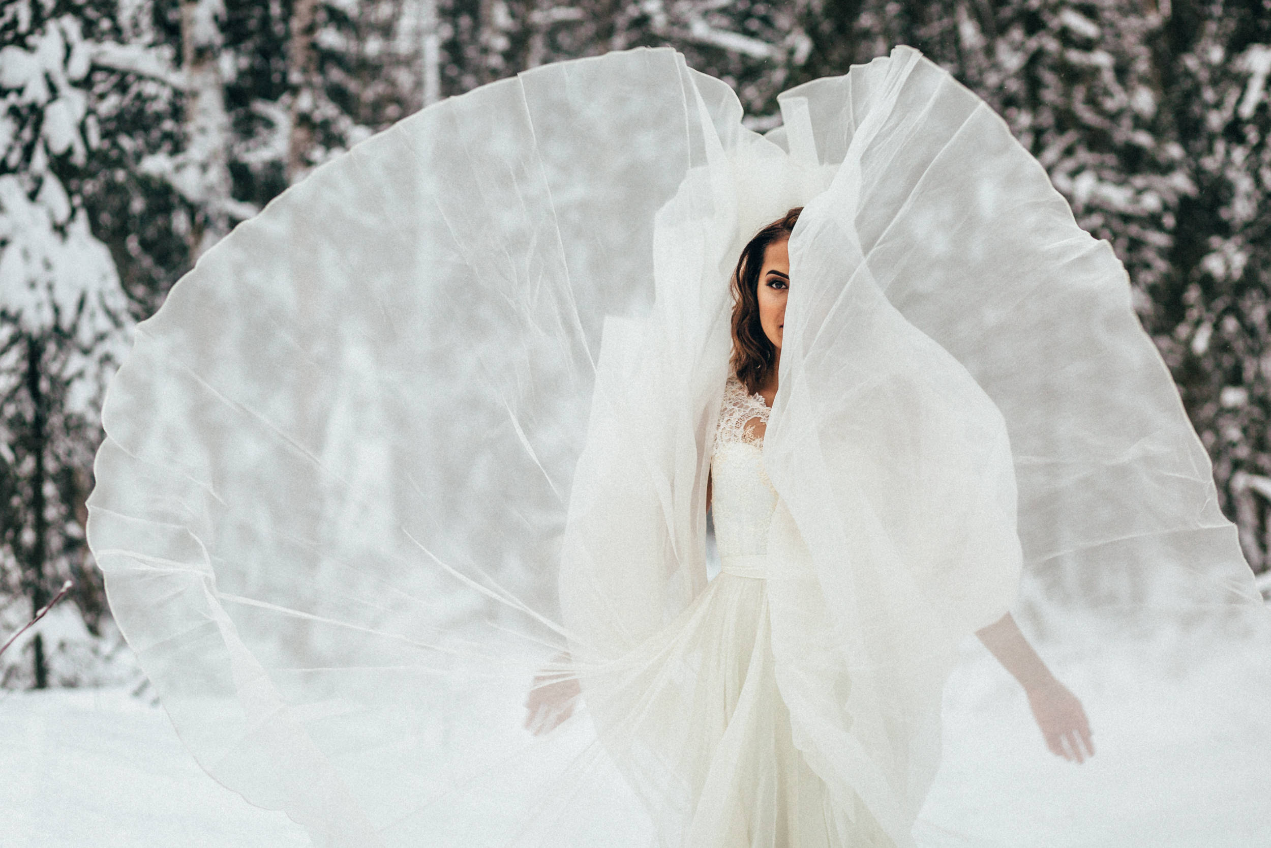 Bride twirling gown