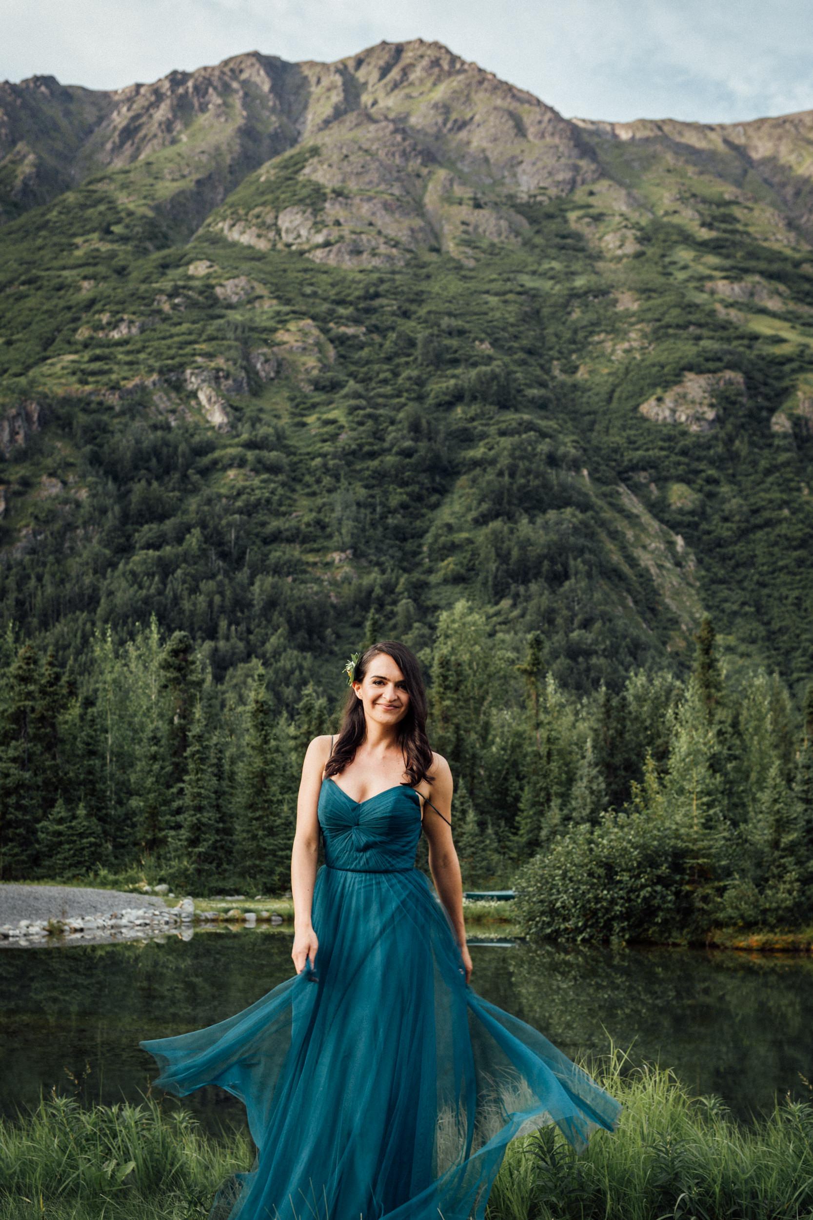 Smiling bridesmaid at the Inn at Tern Lake