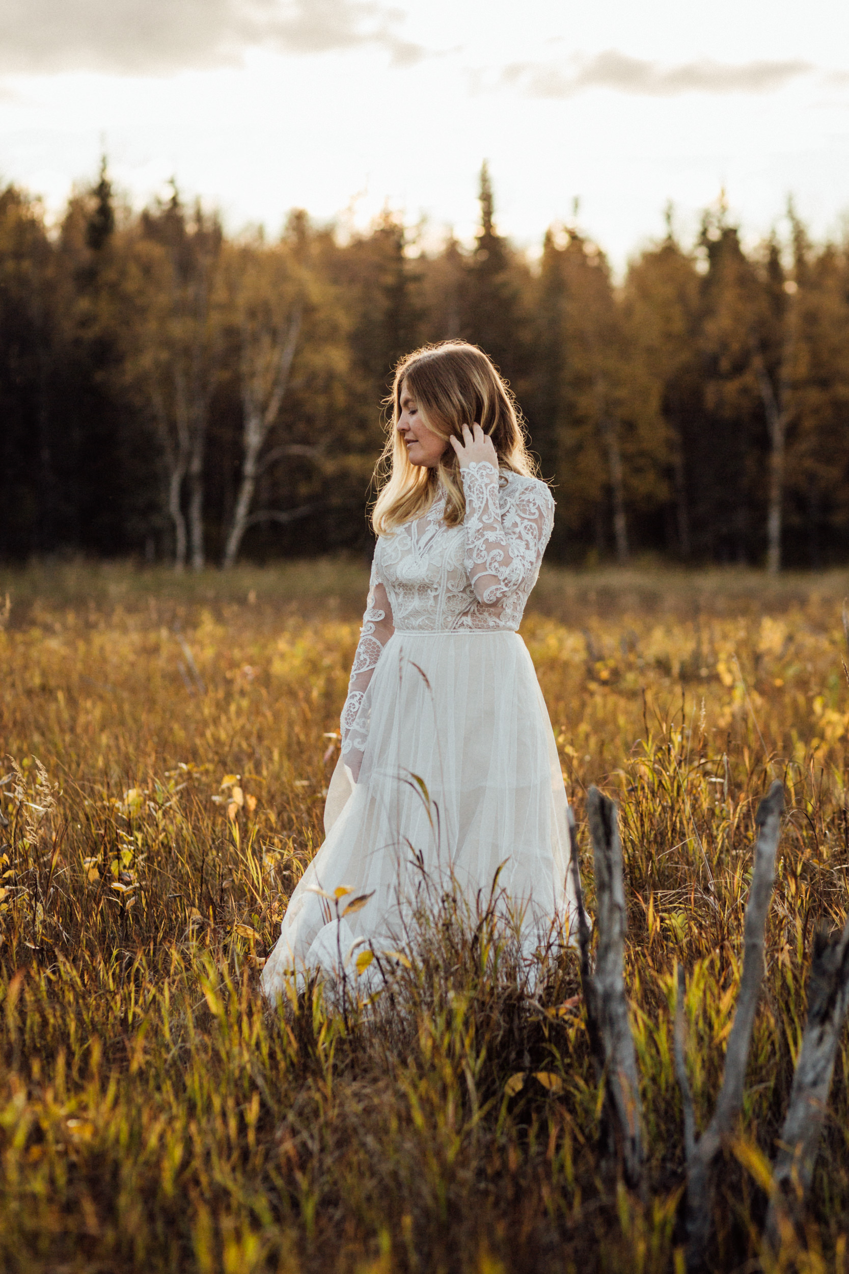 Autumn bride in golden sunset