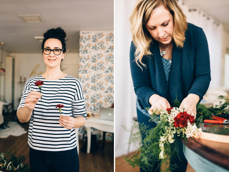 Erin Velander demonstrating wreath-making